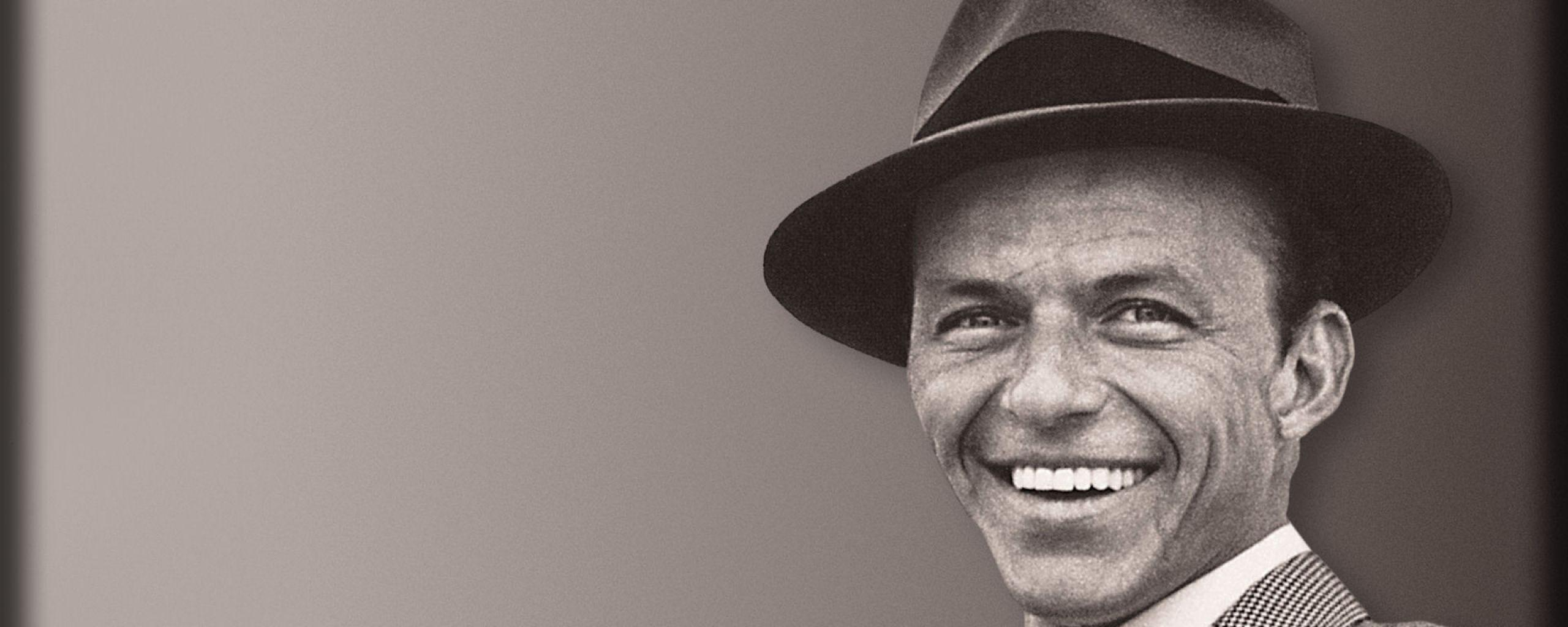 Download Wallpapers 2560x1024 Frank sinatra, Smile, Suit, Hat, Face