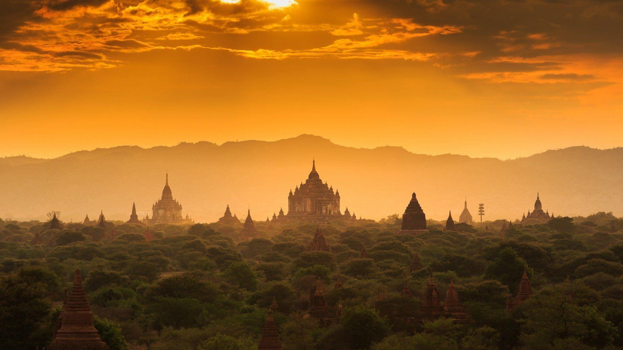 myanmar burma the lost town old architecture sunset forest temple