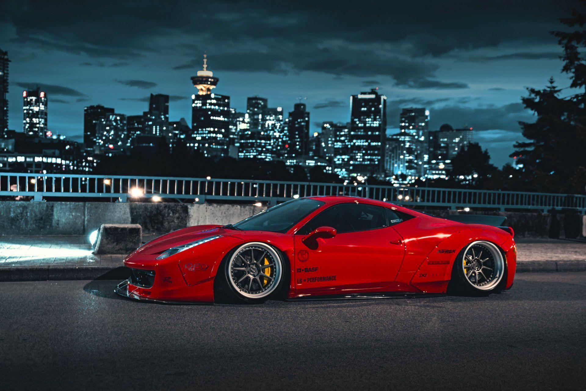 Ferrari Italia Liberty Walk Red Body Kit City Hd Wallpaper