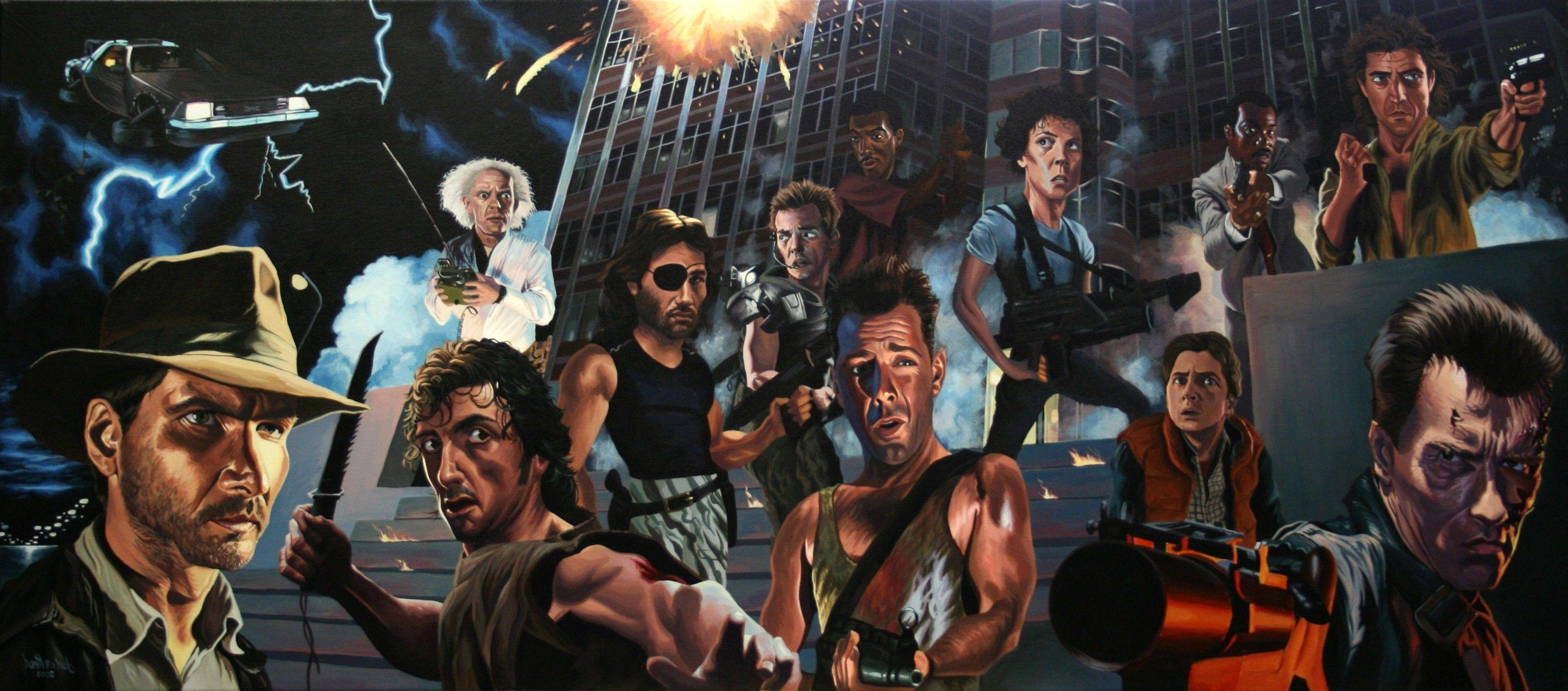 movies, Caricature, Terminator, Indiana Jones, Die Hard, Back To