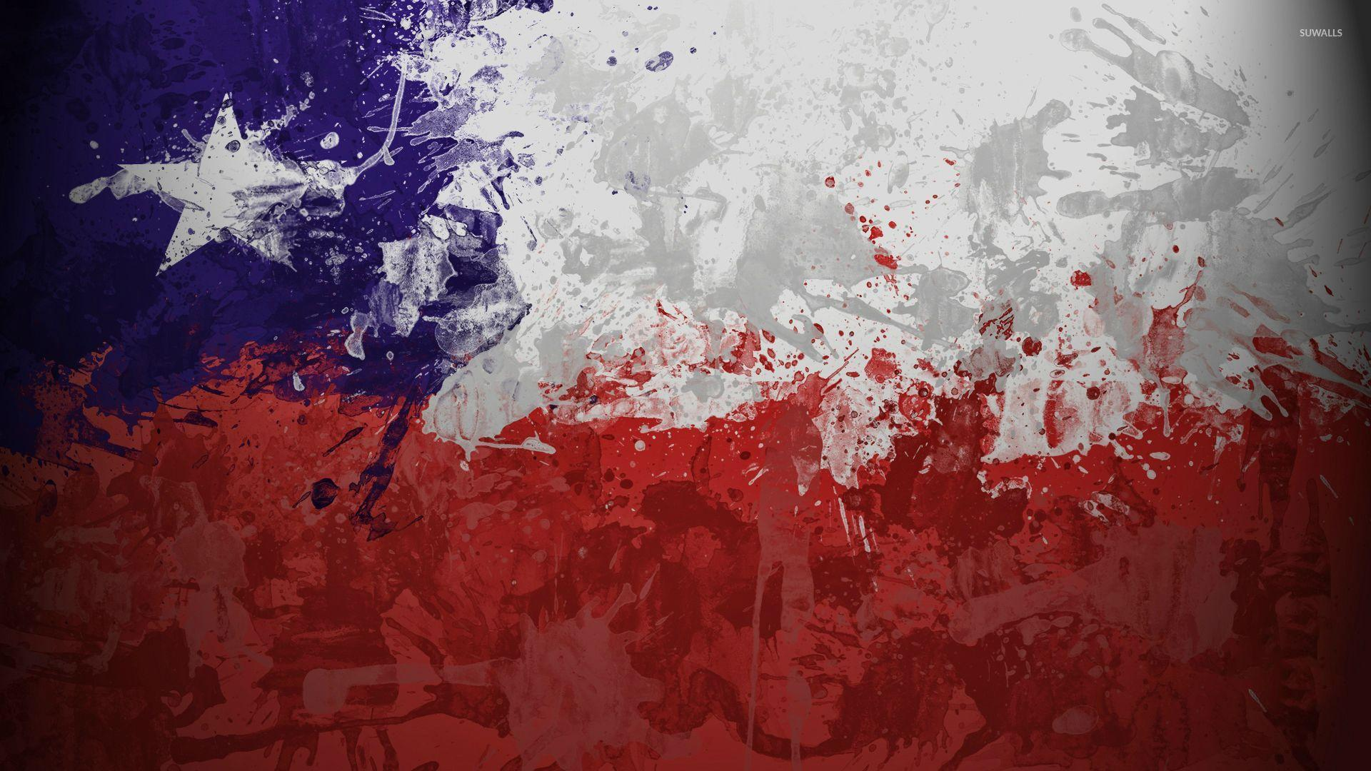 Chile flag with paint drops wallpapers