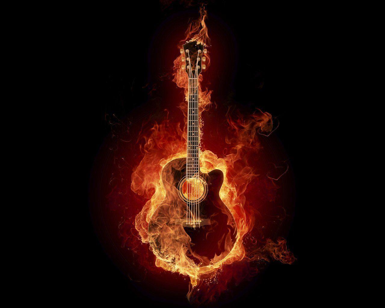 Burning Guitar Wallpapers - Wallpaper Cave