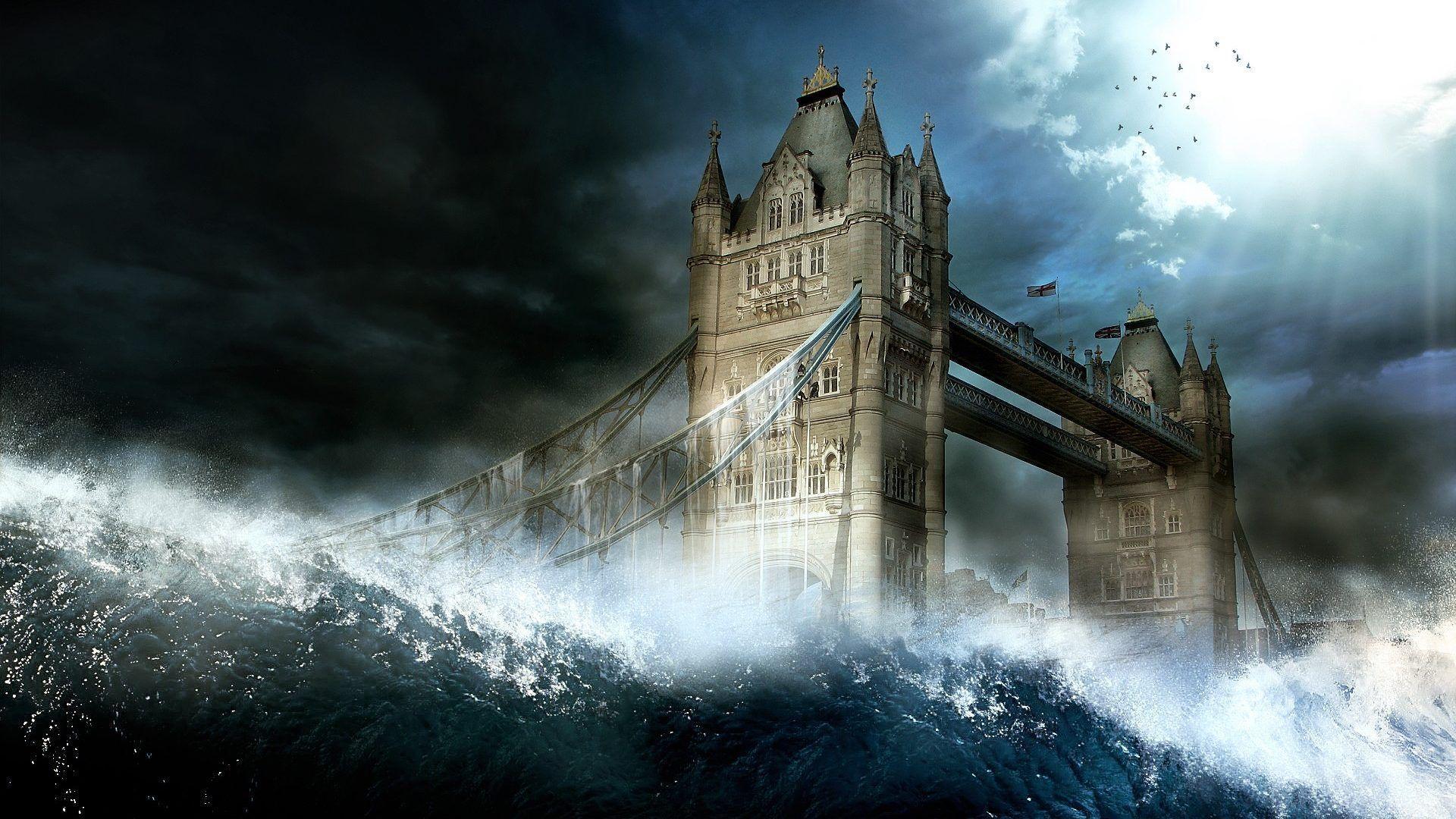 Disaster Tag wallpapers: Flood Waves London Bridge Calamity Cool .