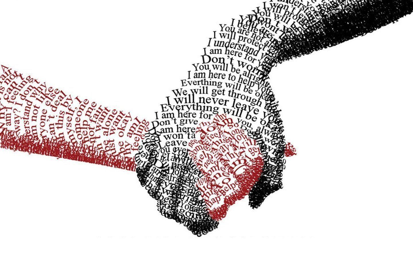 Couple Friendship Hands Holding Love Text Trust Typography