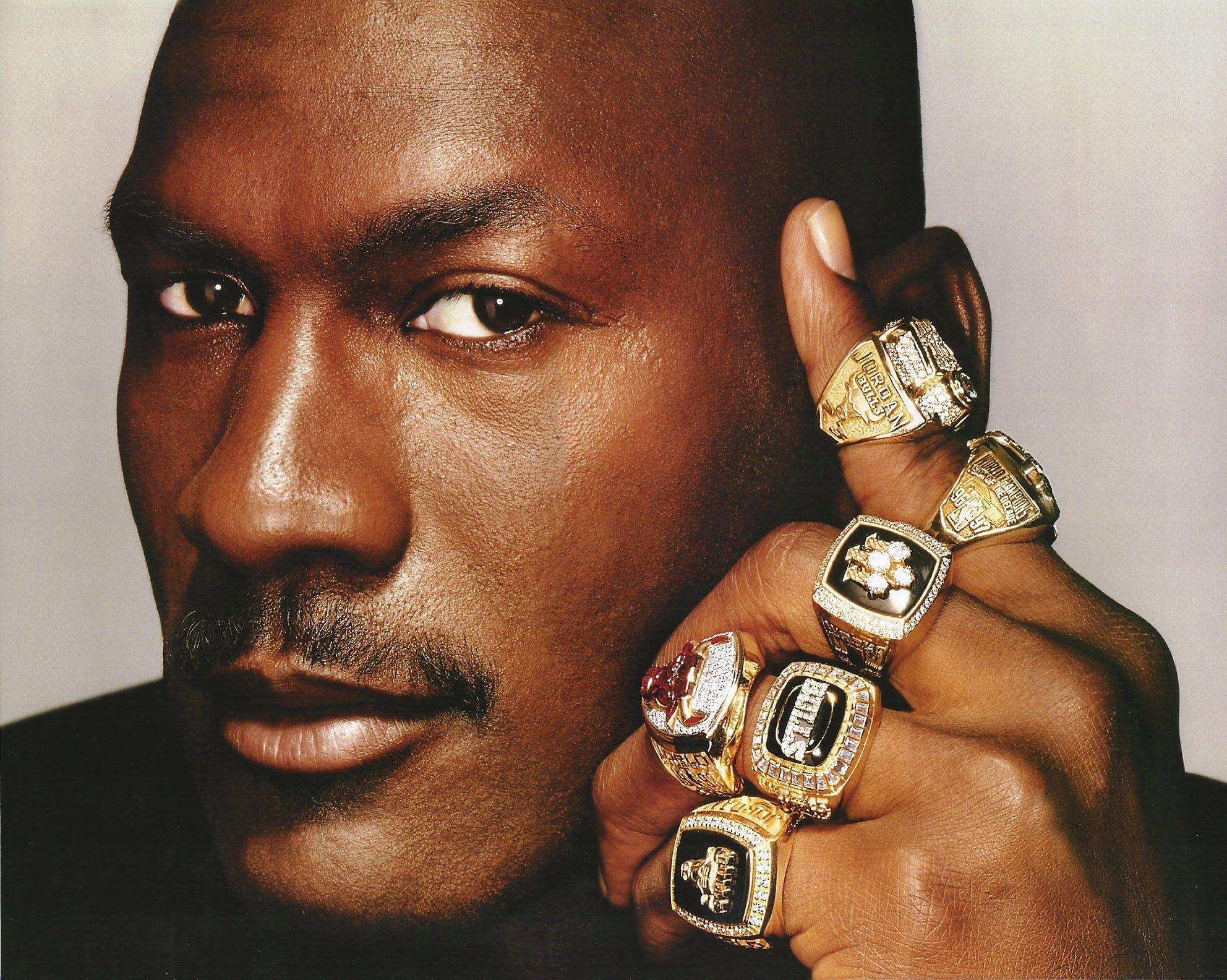 NBA Basketball Michael Jordan with all 6 of his championship rings