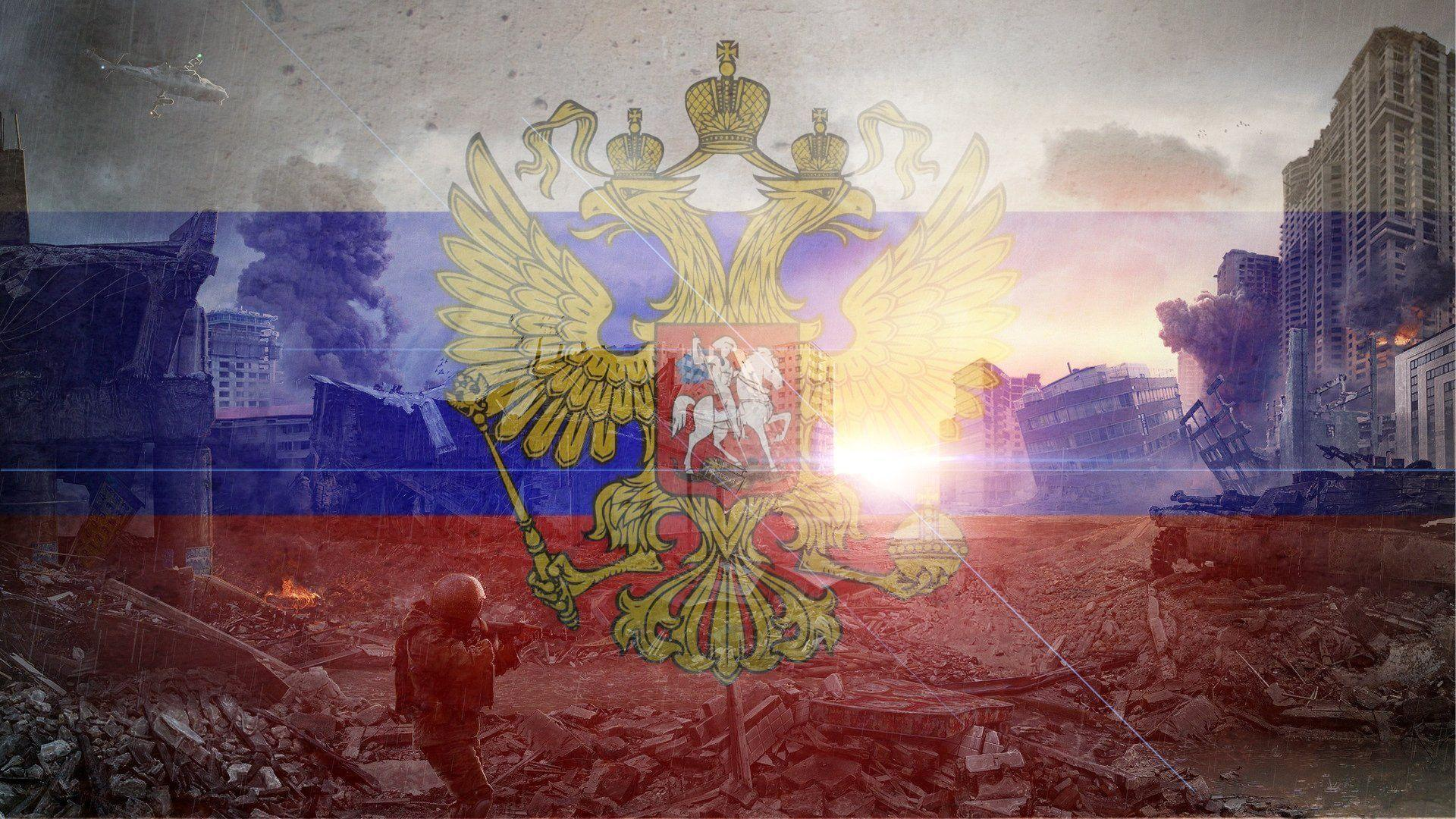 russia russia flag country town destruction sun HD wallpaper