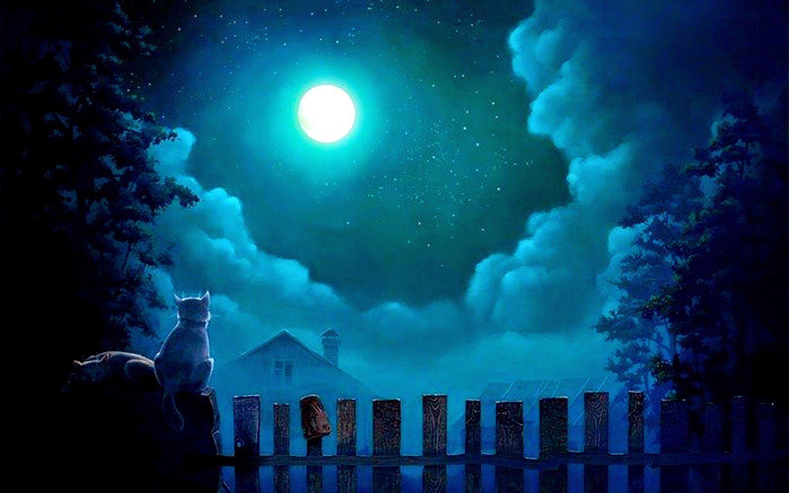 Moon full light wallpapers wallpaper cave - Light night wallpaper ...