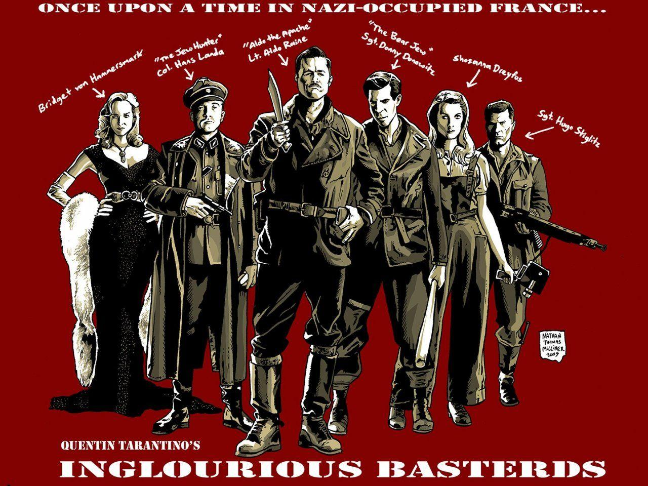 wallpaper: Inglourious Basterds, movie, Quentin Tarantino, Brad
