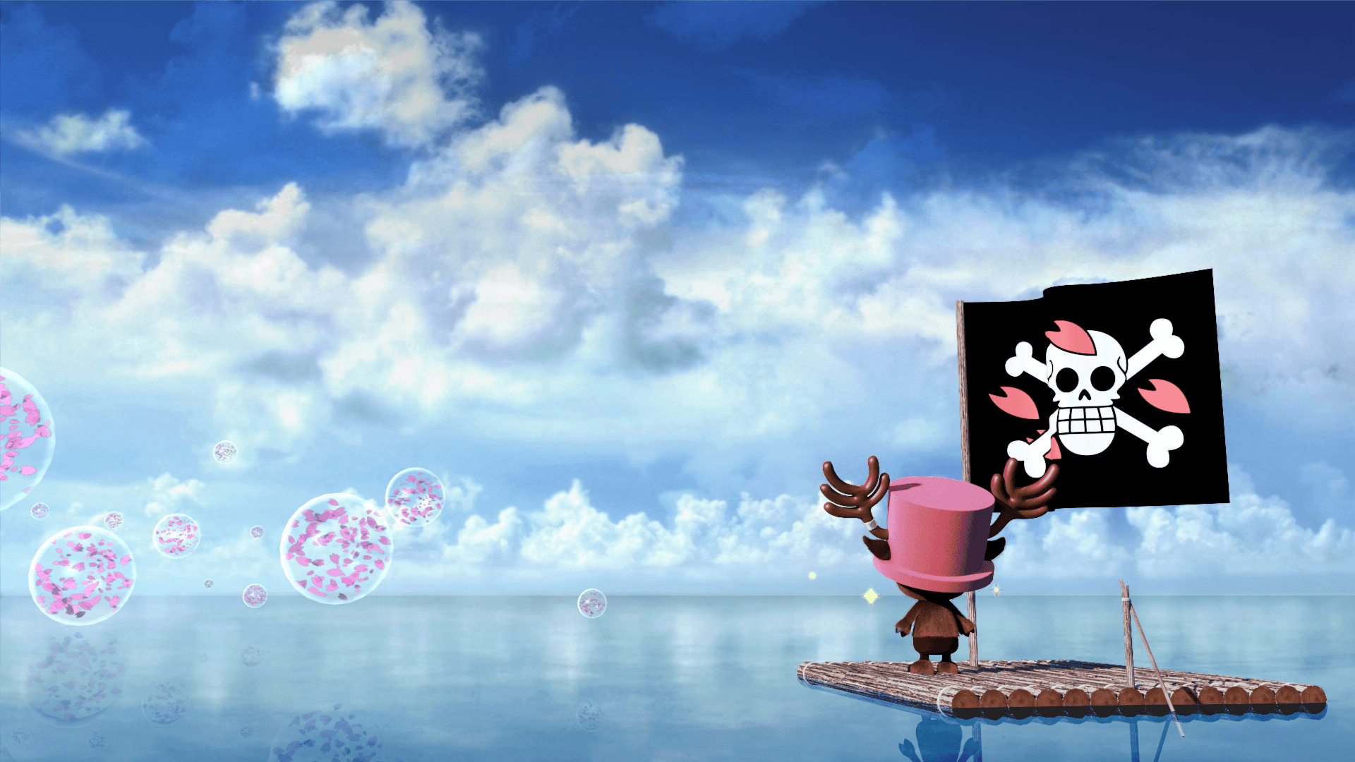 桜の海賊旗を掲げるチョッパーの画像