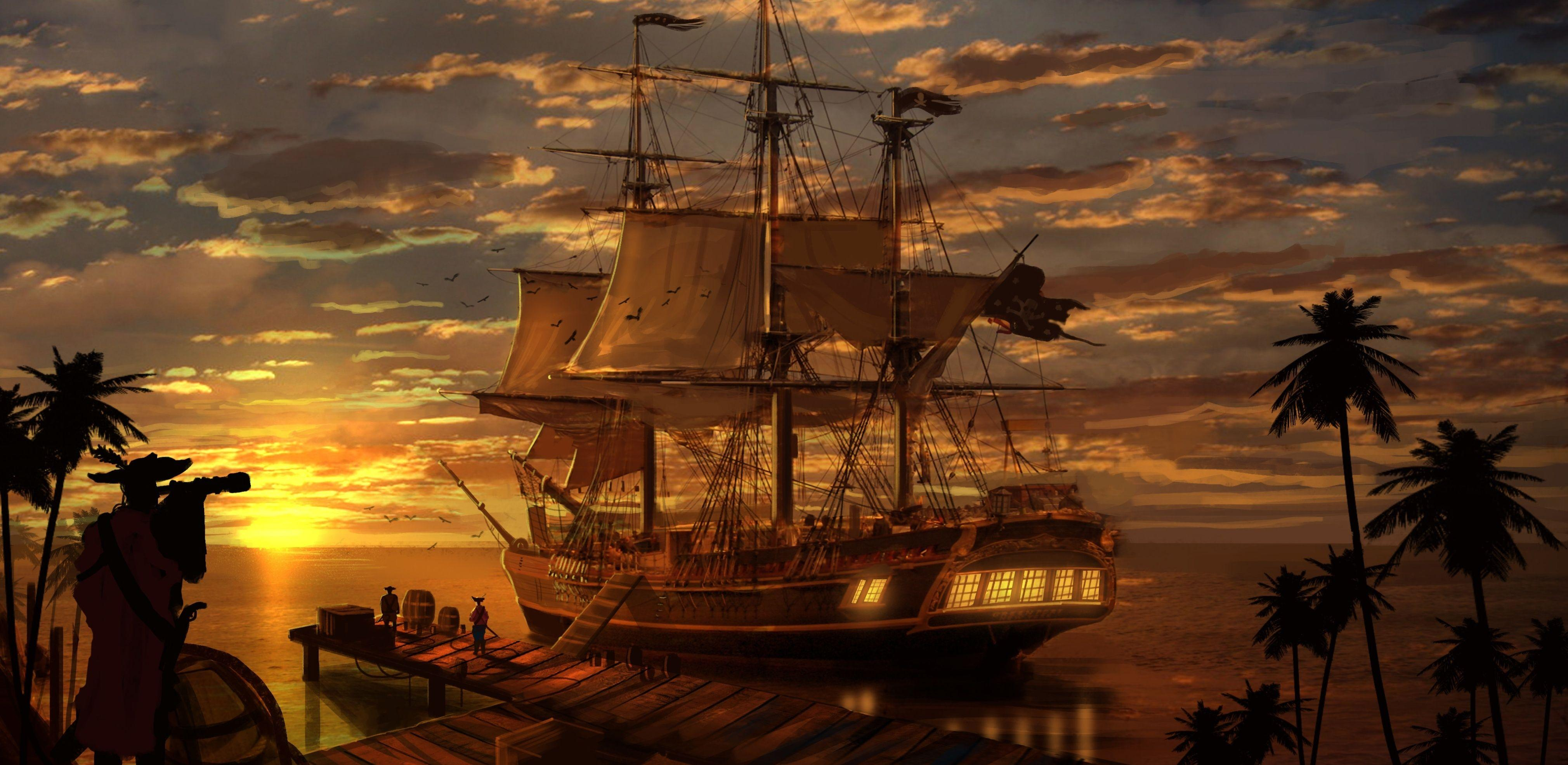 Animated pirate ship