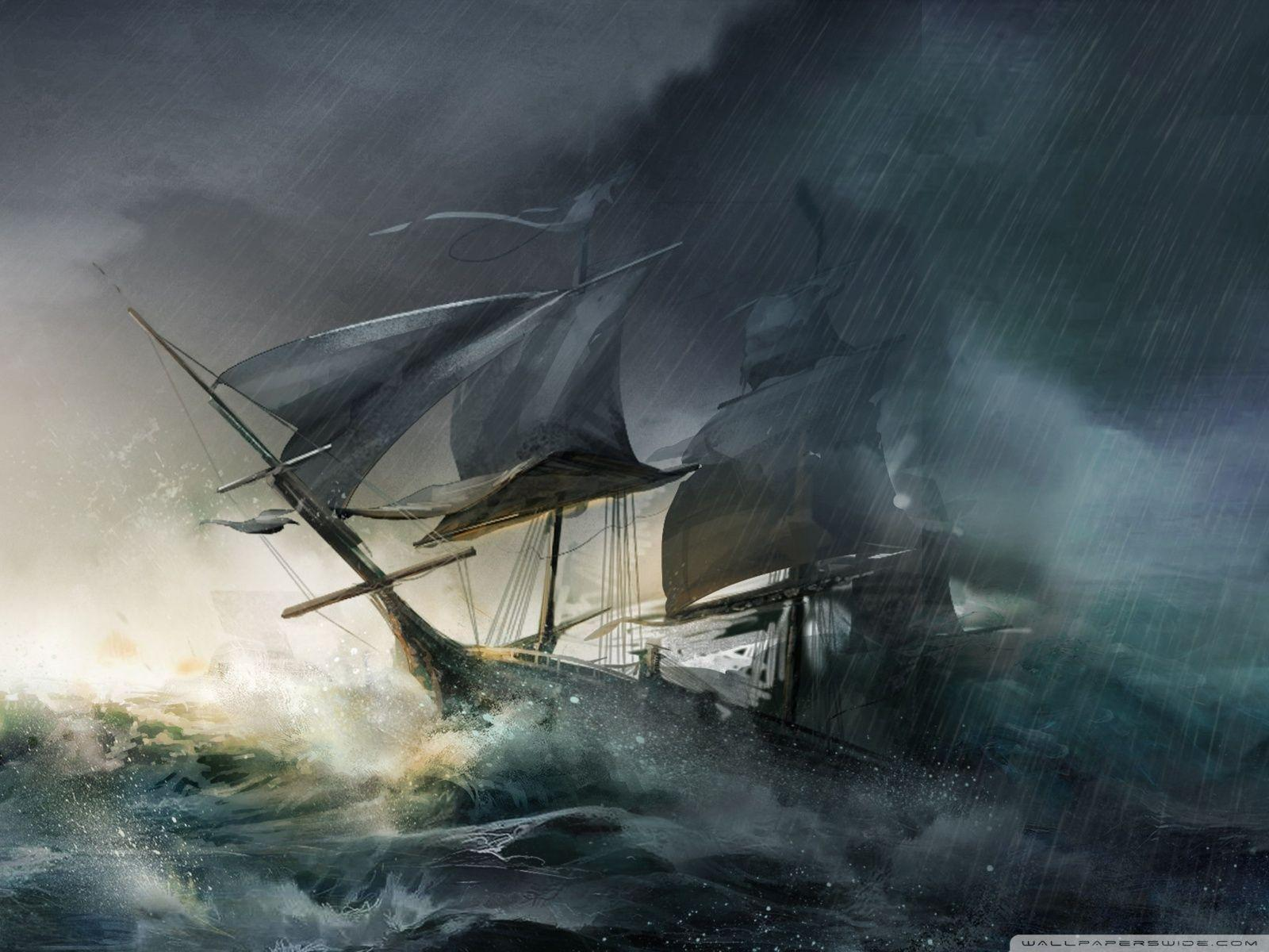 Картинки пиратских парусников в шторм