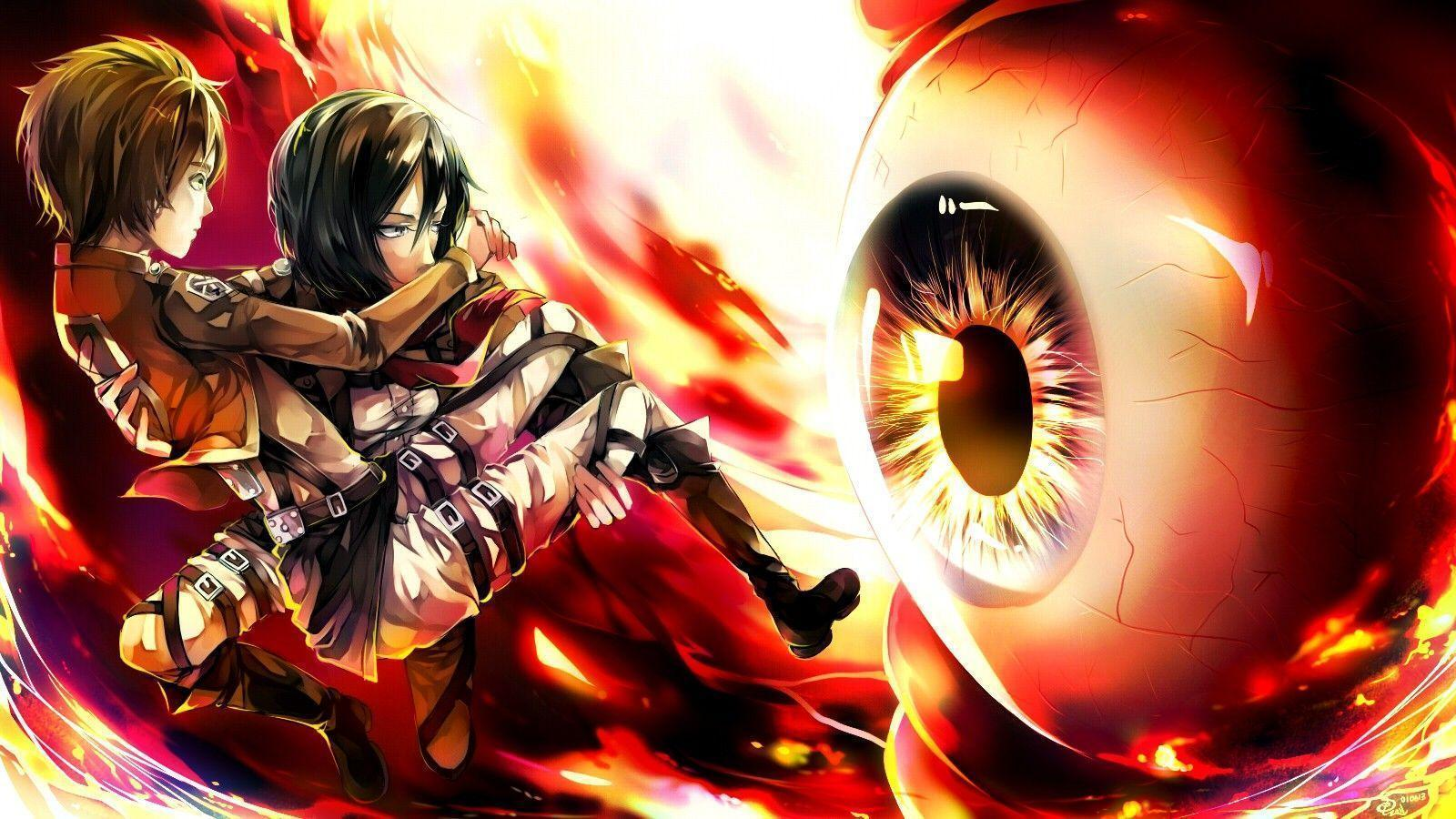 Anime Attack On Titan Eren Yeager Mikasa Ackerman Wallpapers