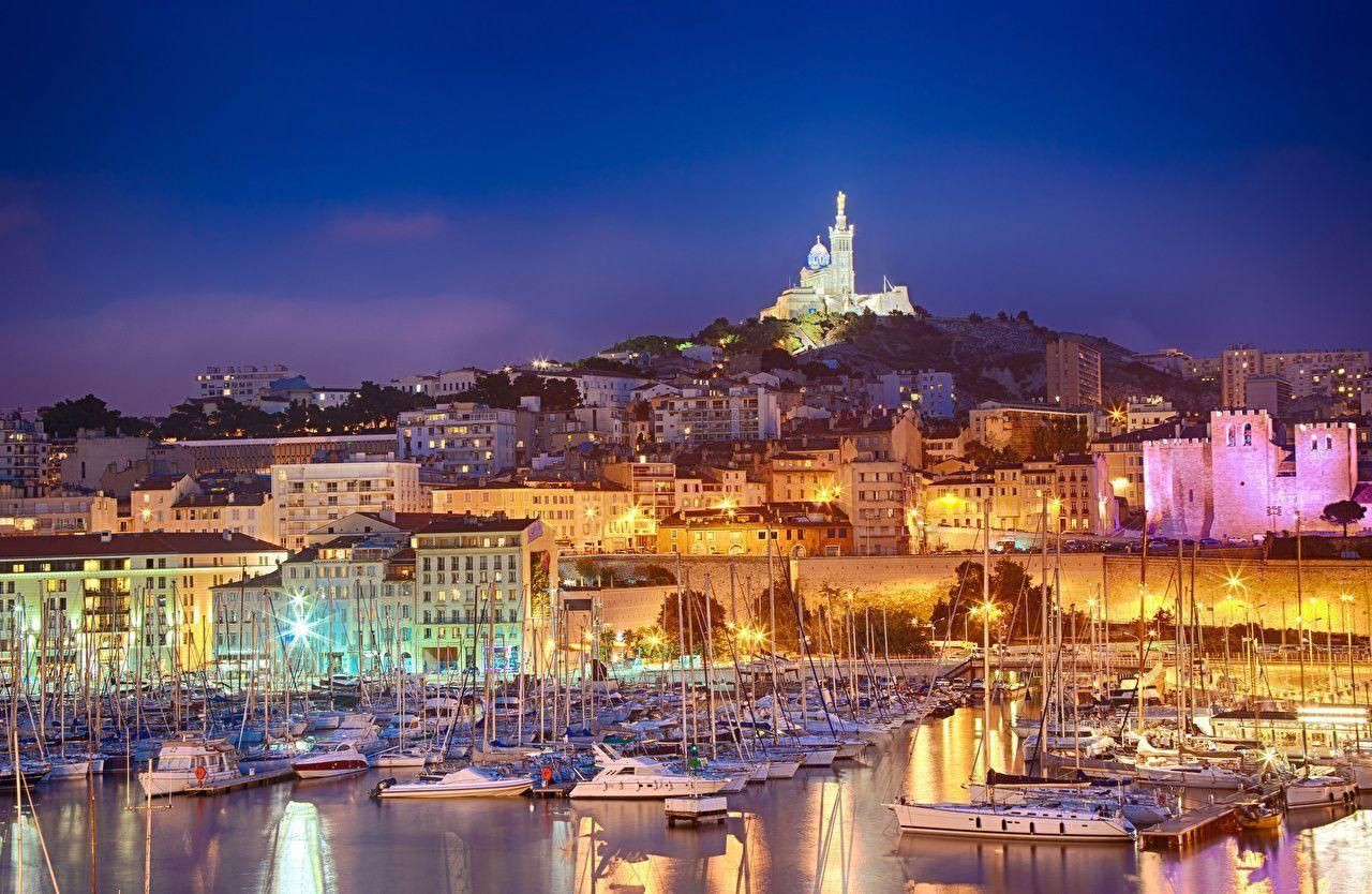 Image Marseille France Yacht Sailing Marinas Evening Cities