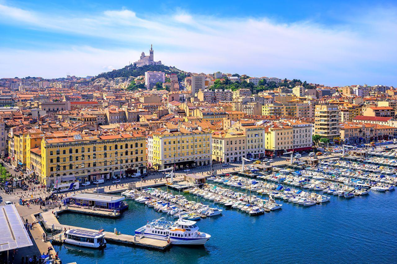 Wallpapers Marseille France Marinas Motorboat Cities Building