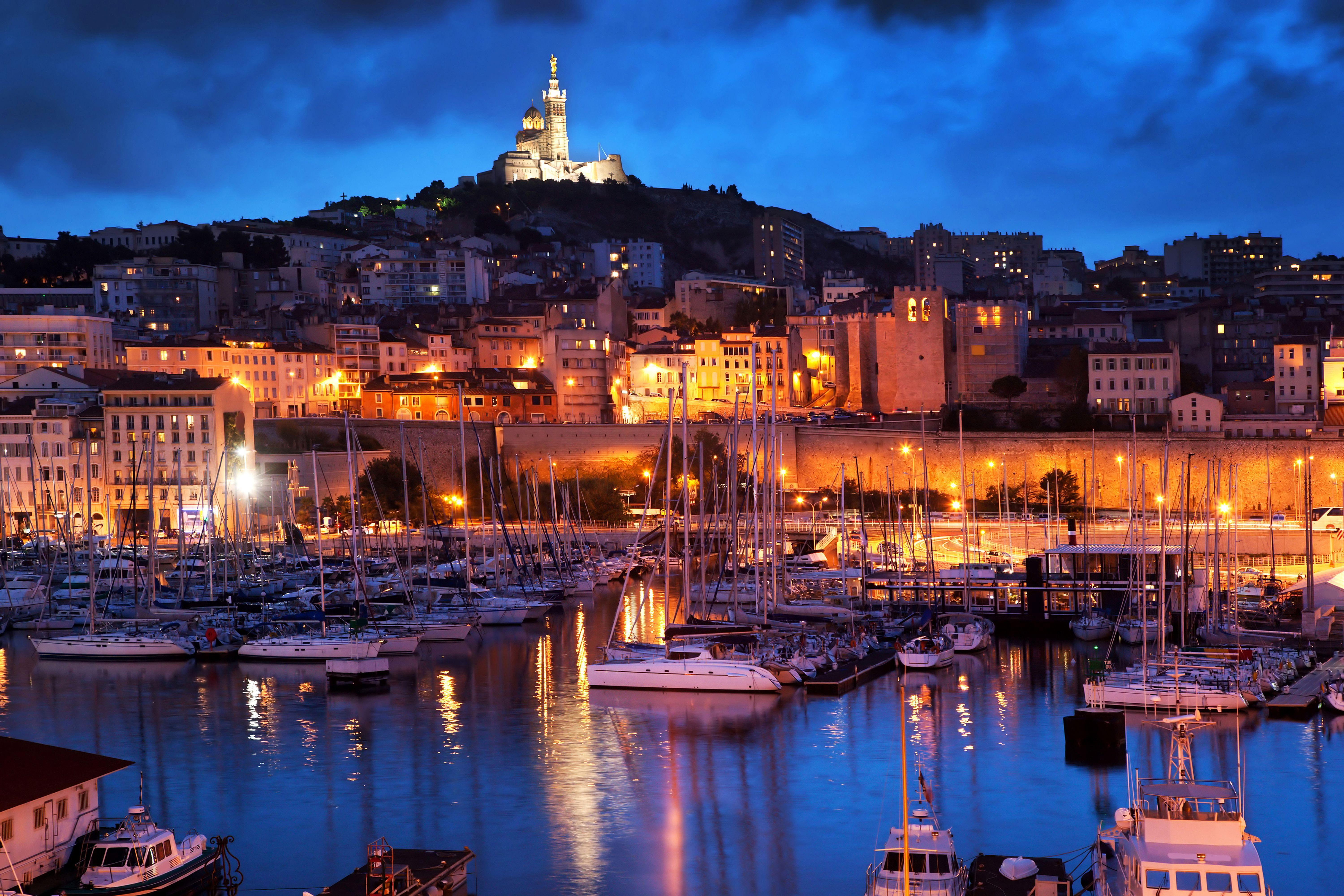 Photos Marseille France Ships Berth Sailing night time 6000x4001