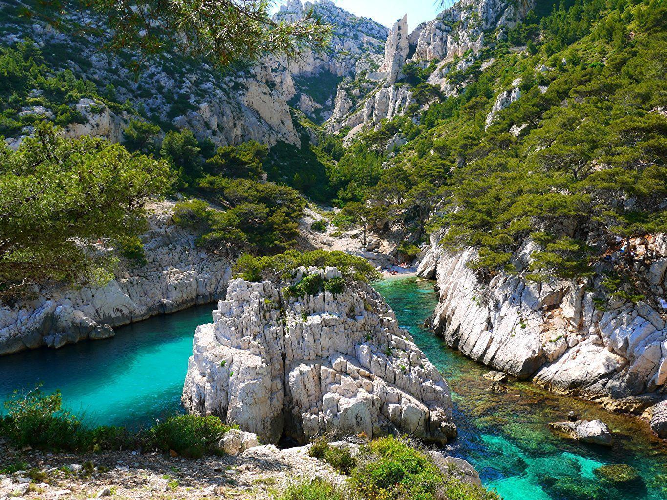 Photo Marseille France Crag Nature Mountains Rivers Shrubs
