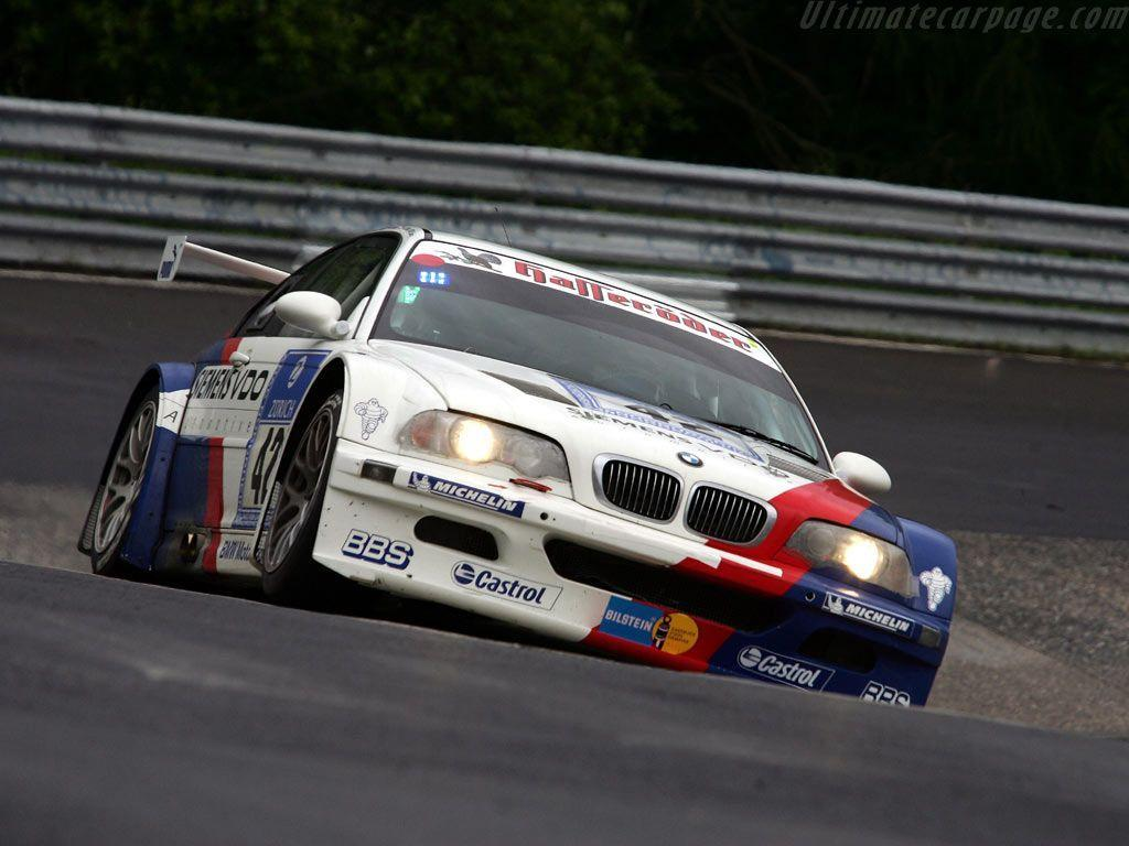 BMW E46 GTR passing the caracciola karussell on the nurburgring