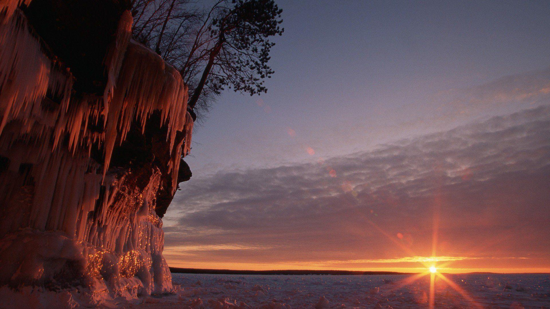Wisconsin ice cave Lake Superior wallpapers