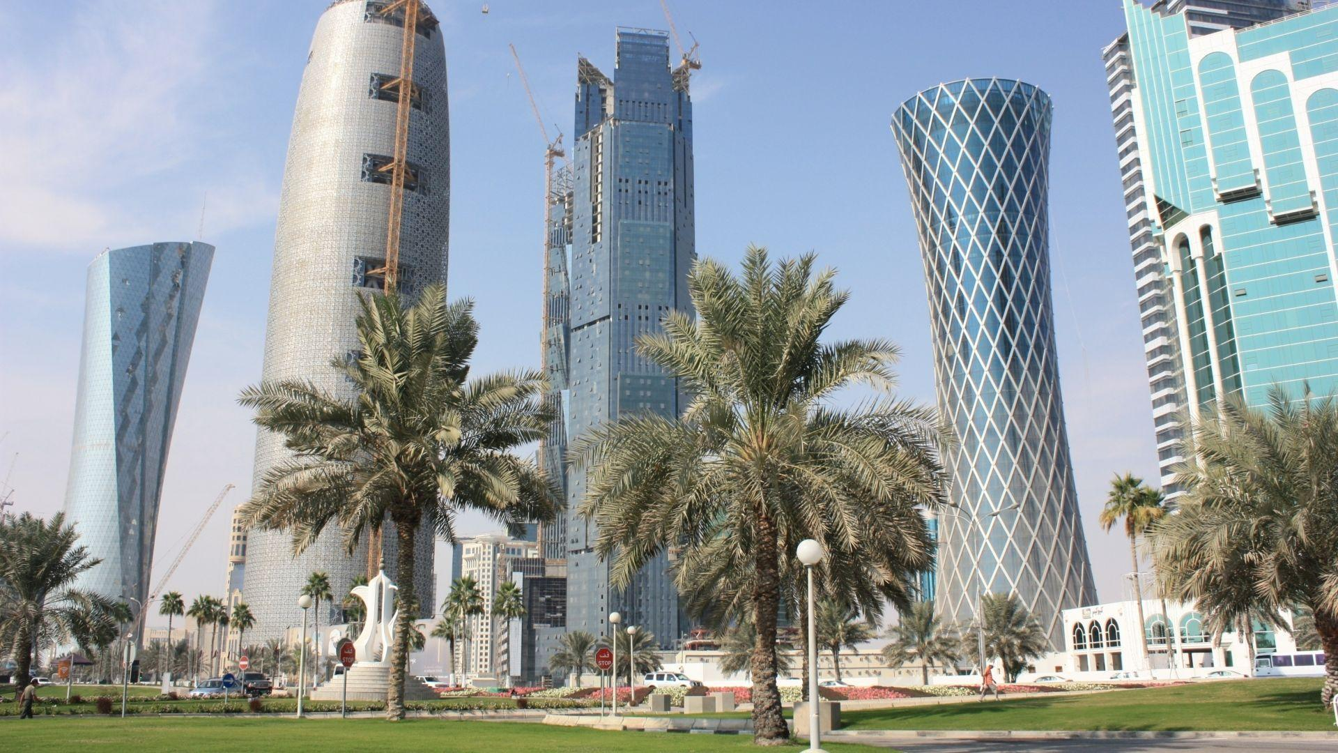 Download Wallpapers 1920x1080 Qatar, Doha, City, Buildings, Palm