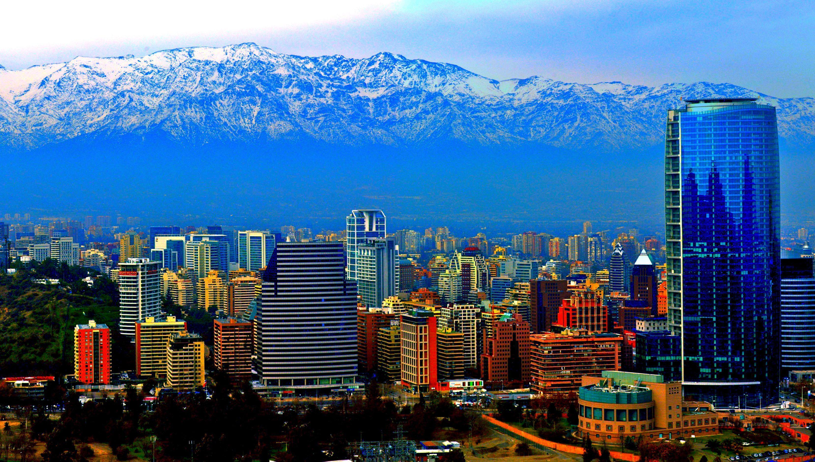 Panorama of the city of Santiago, Chile Desktop wallpapers 1920x1080