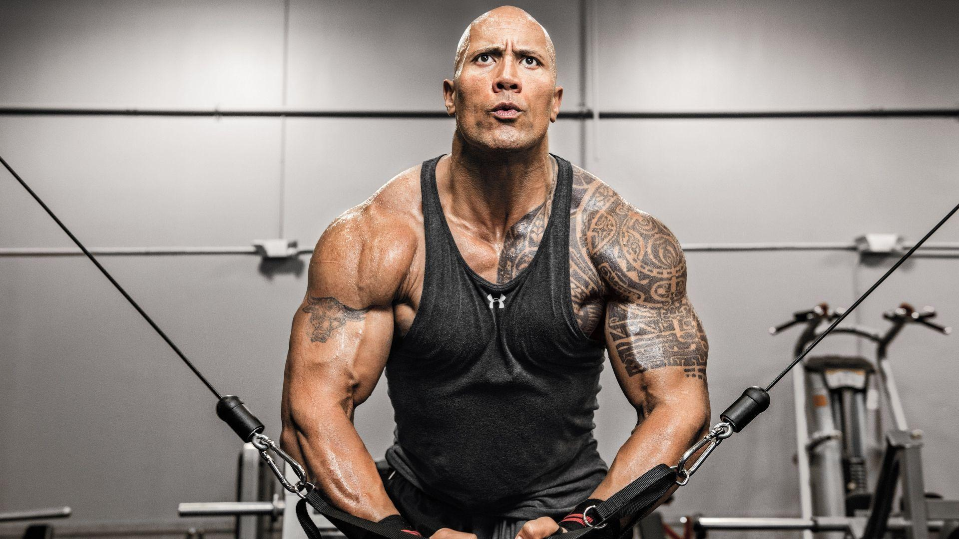 The Rock Actor Gym Exercise Workout Wallpaper | WallpapersByte