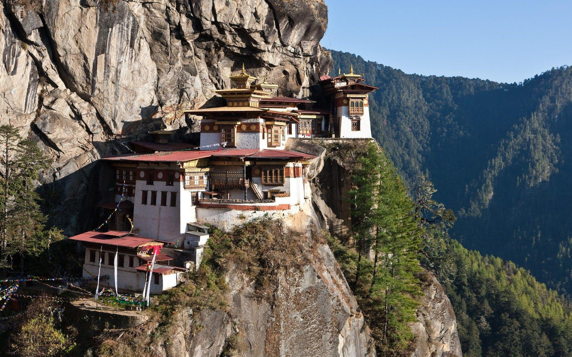 Bhutan buildings mountains valleys wallpaper | AllWallpaper.in ...