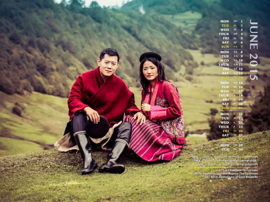 Bhutan Desktop Calendars - June 2015
