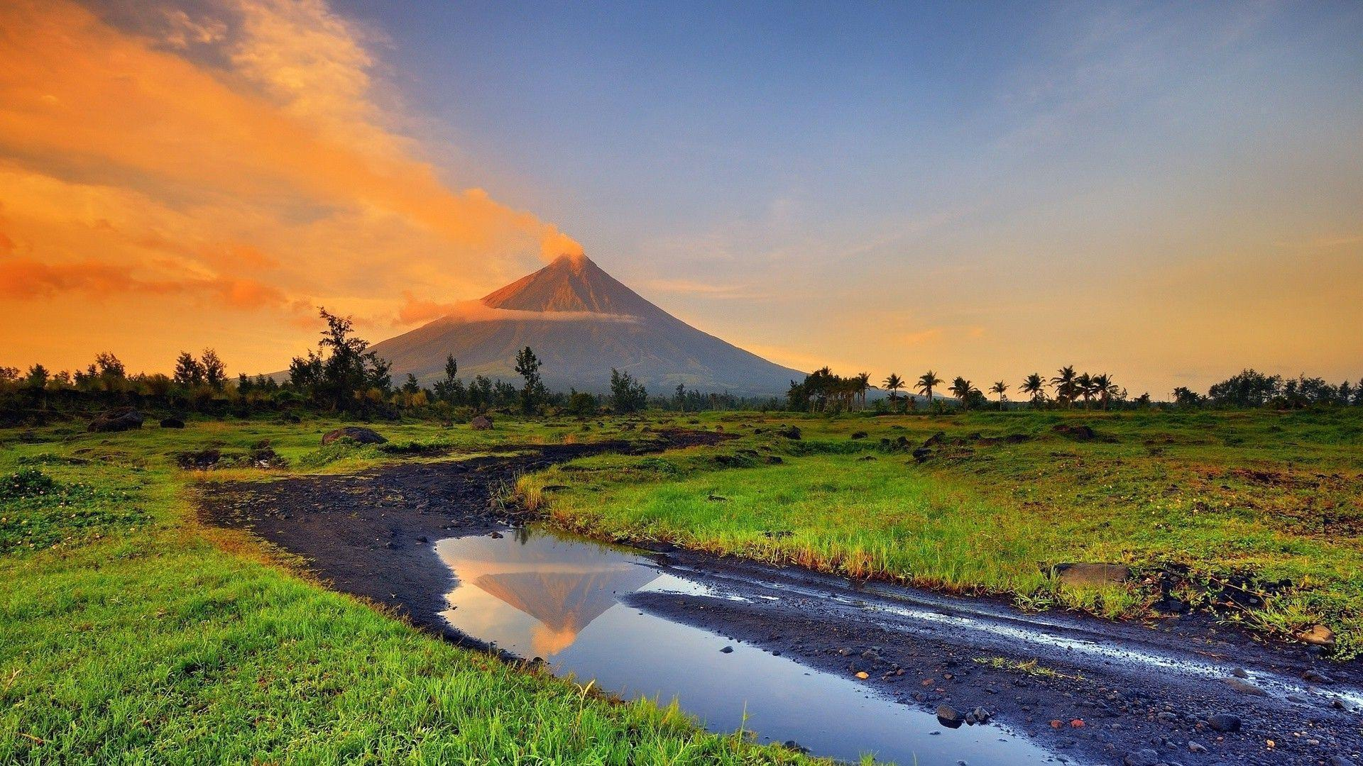 landscape, Volcano, Stream, Smoke, Philippines Wallpapers HD ...
