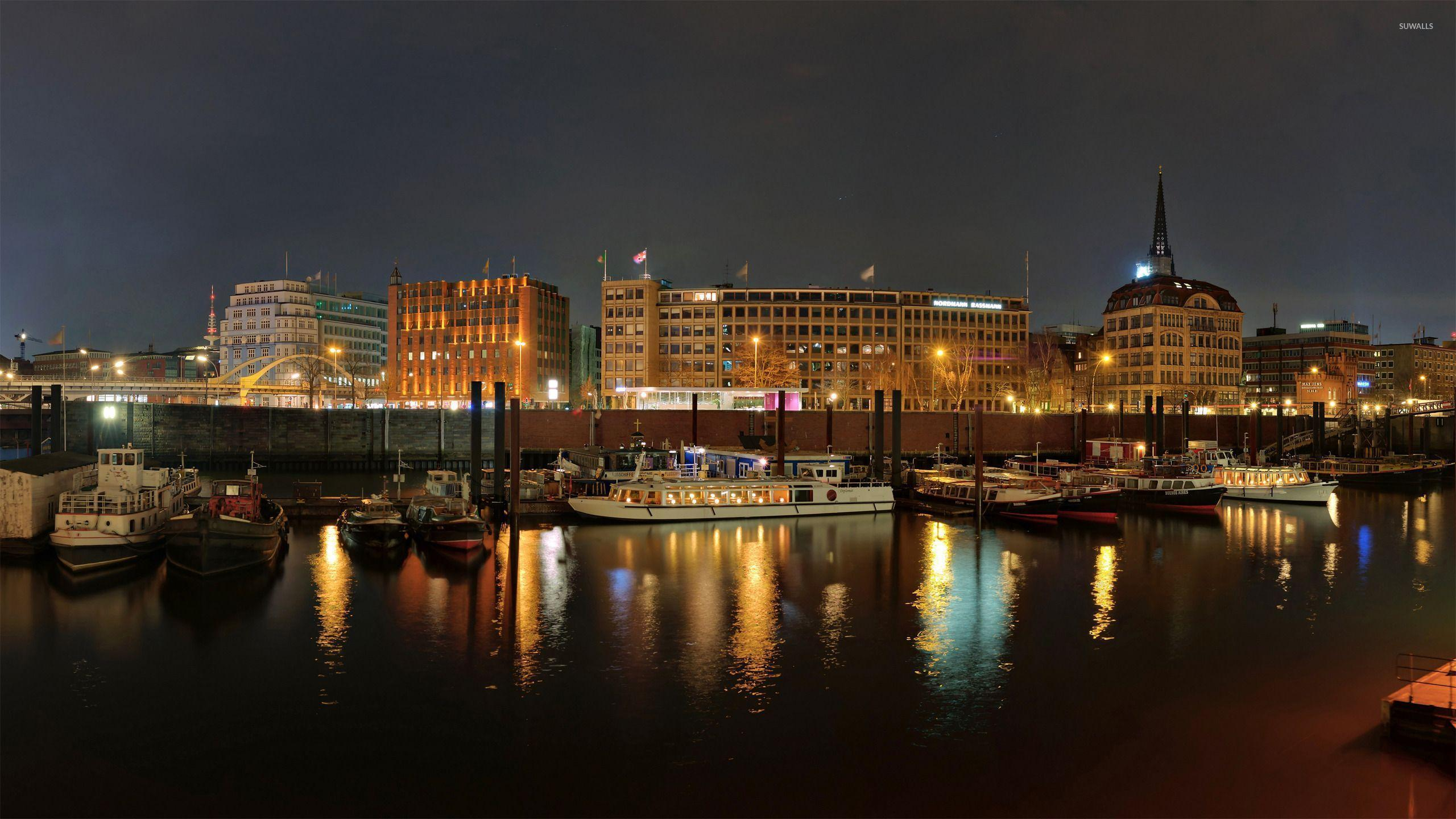 Hamburg harbour at night wallpaper - World wallpapers - #26299