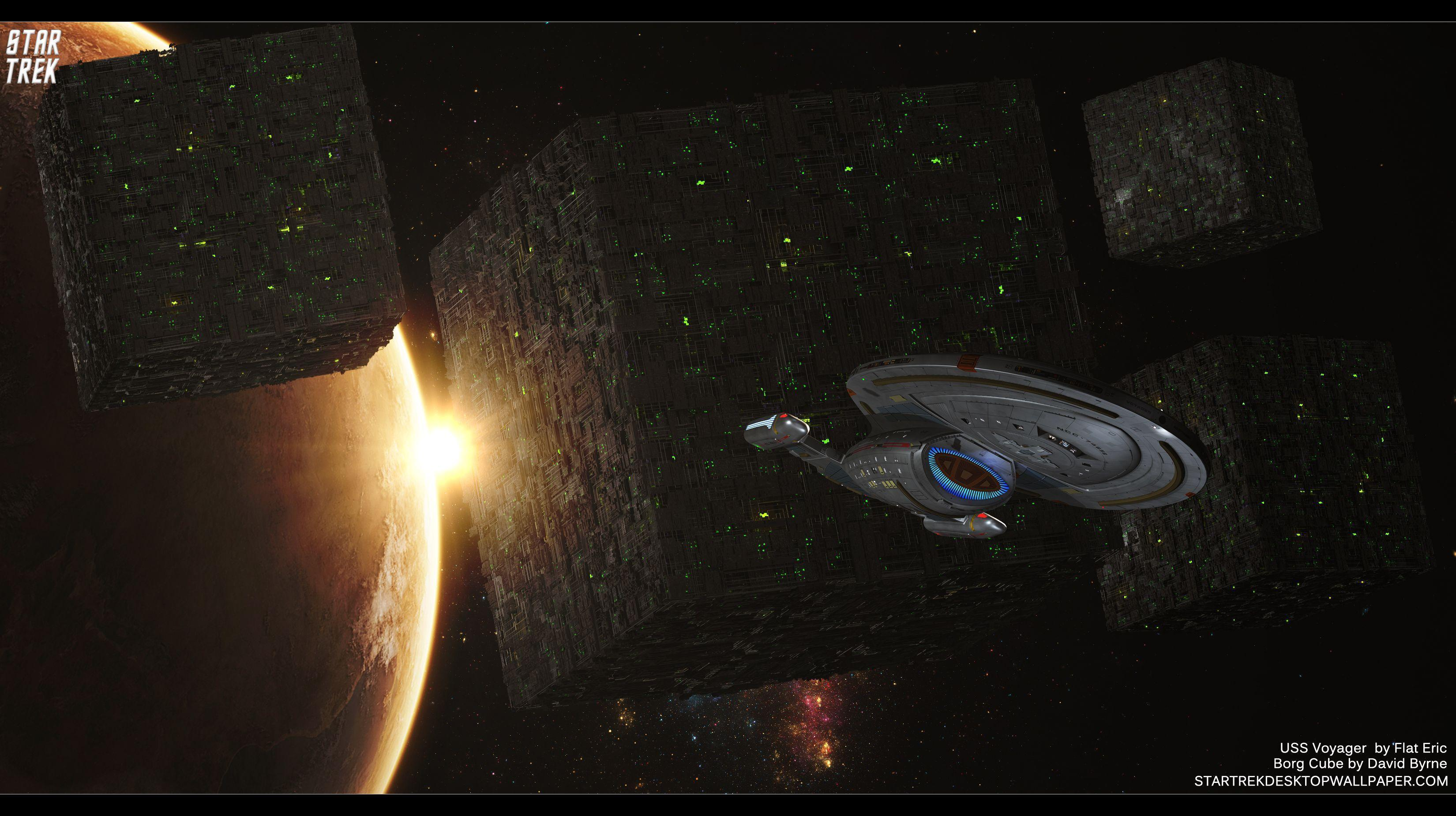 Star Trek Borg Cube And USS Voyager