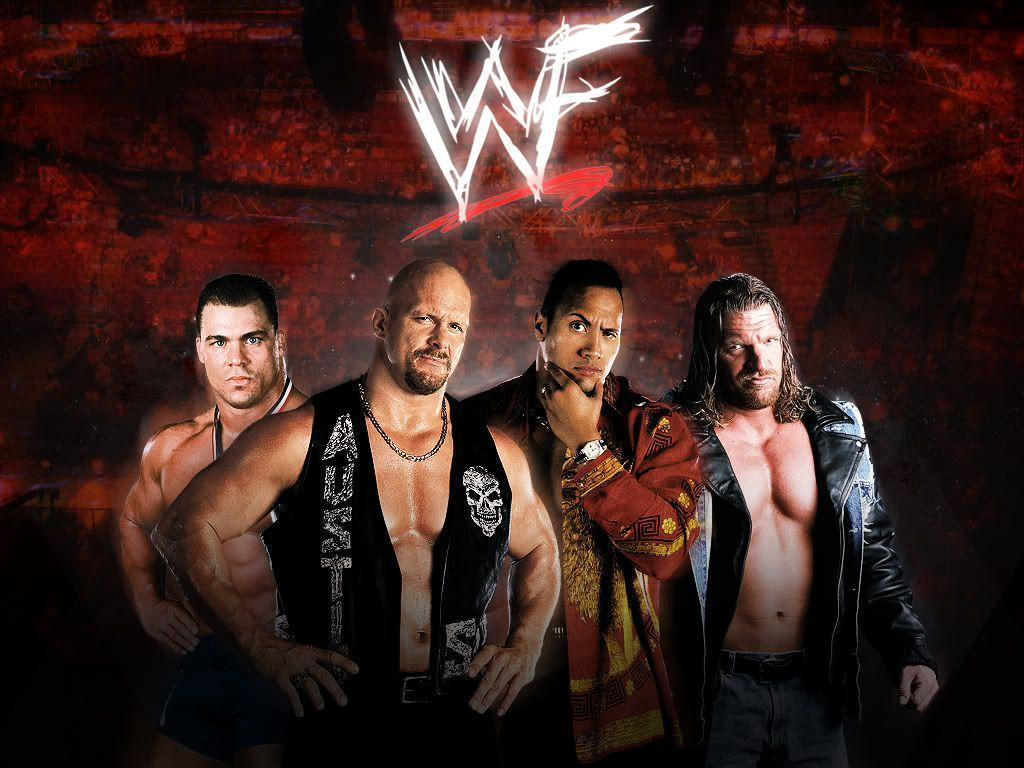 WWF: Kurt Angle, Stone Cold Steve Austin, The Rock, Triple H ...
