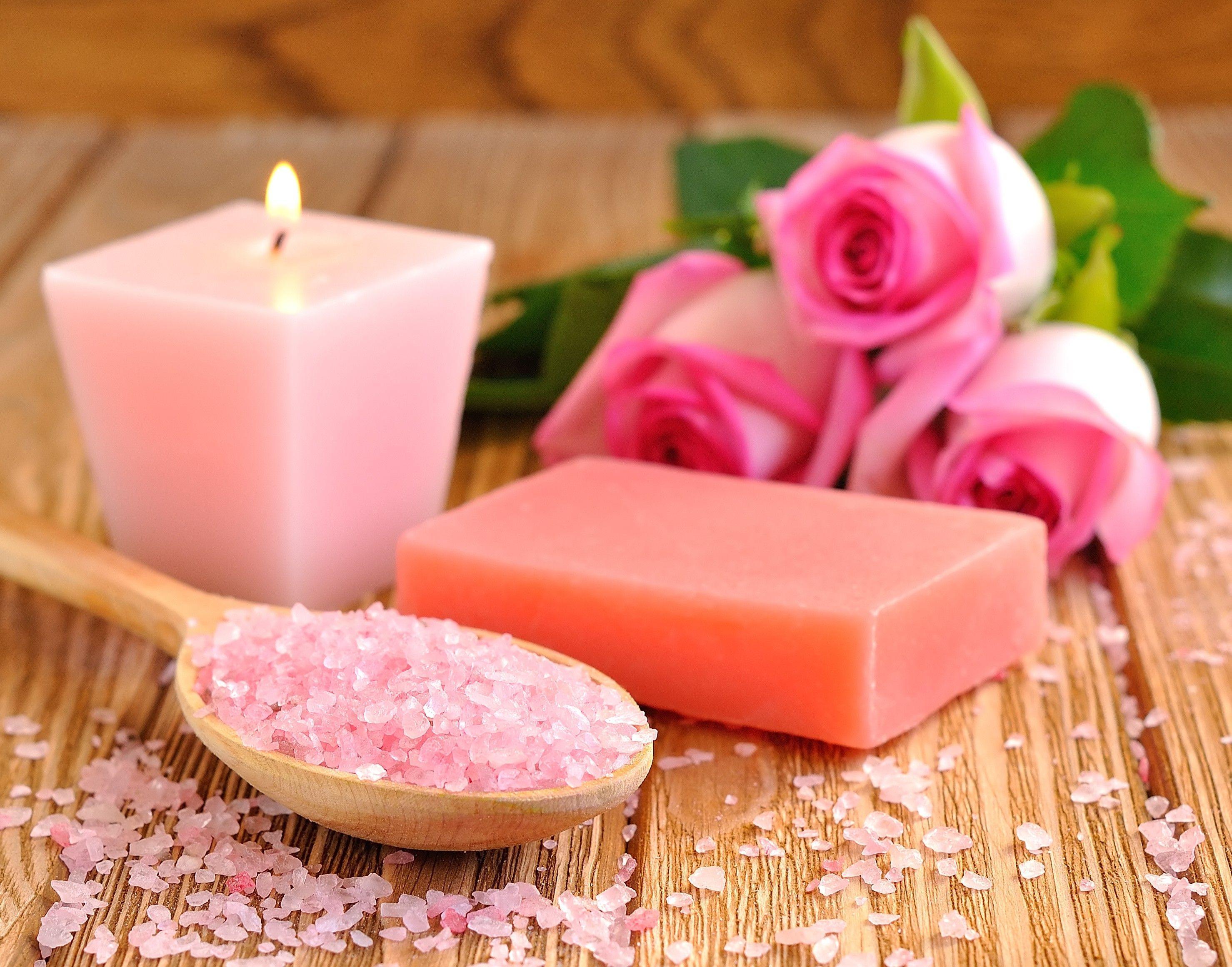 Flower Relaxing Spa Salt Pink Roses Soap Desktop Wallpaper