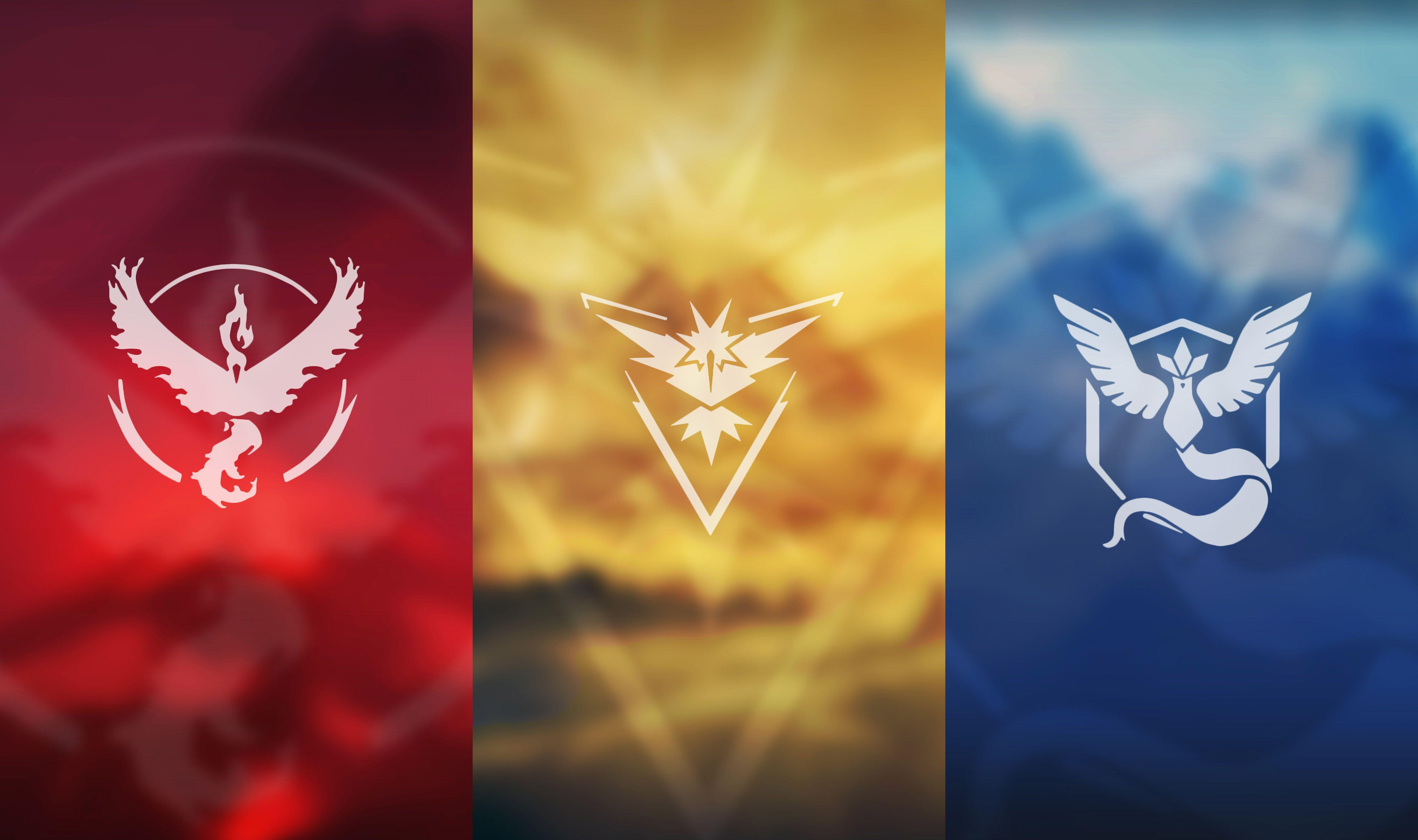 Wallpapers Pokemon Go, Teams, Team Red, Team Blue, Team Yellow, Team