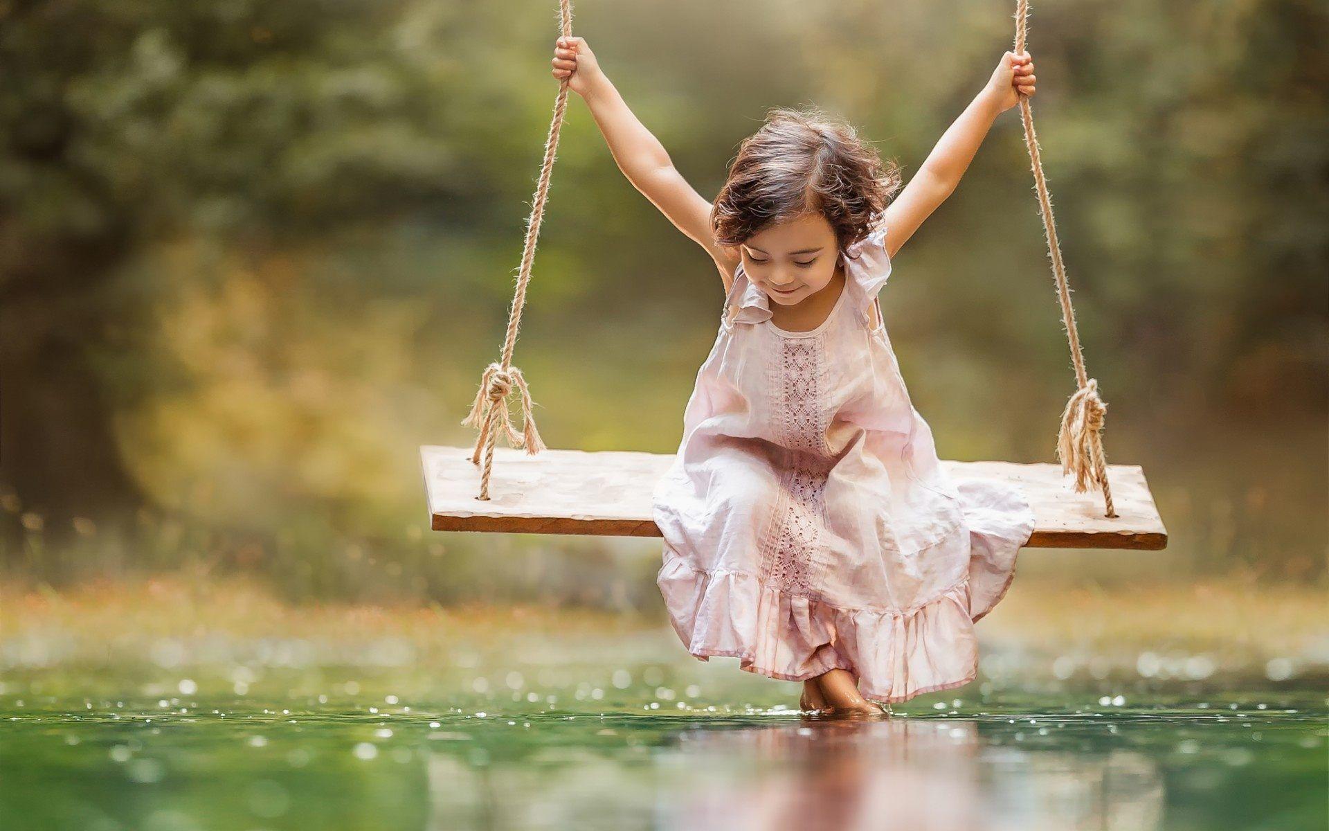 Small Girl Taking Swing | Cute HD 4k Wallpapers