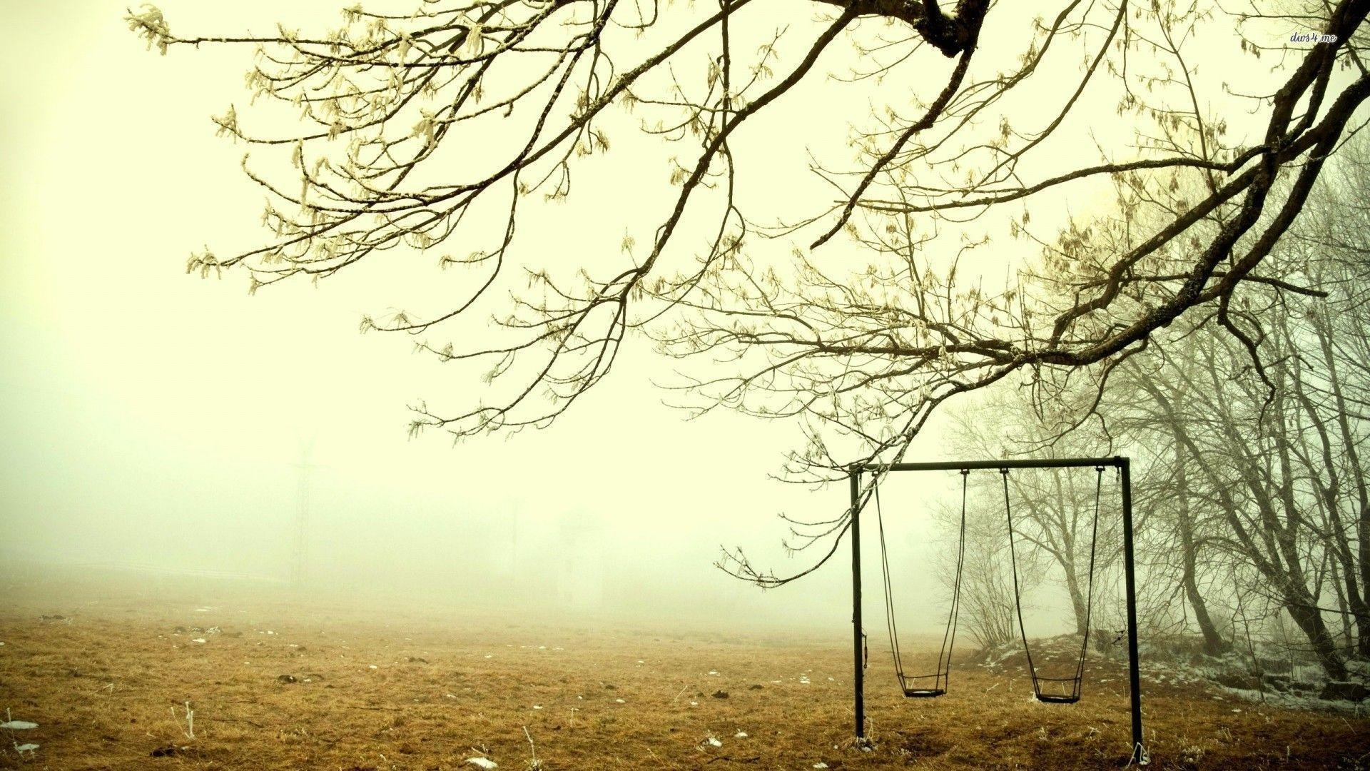 Swing set on a foggy morning wallpaper | Wallpaper Wide HD