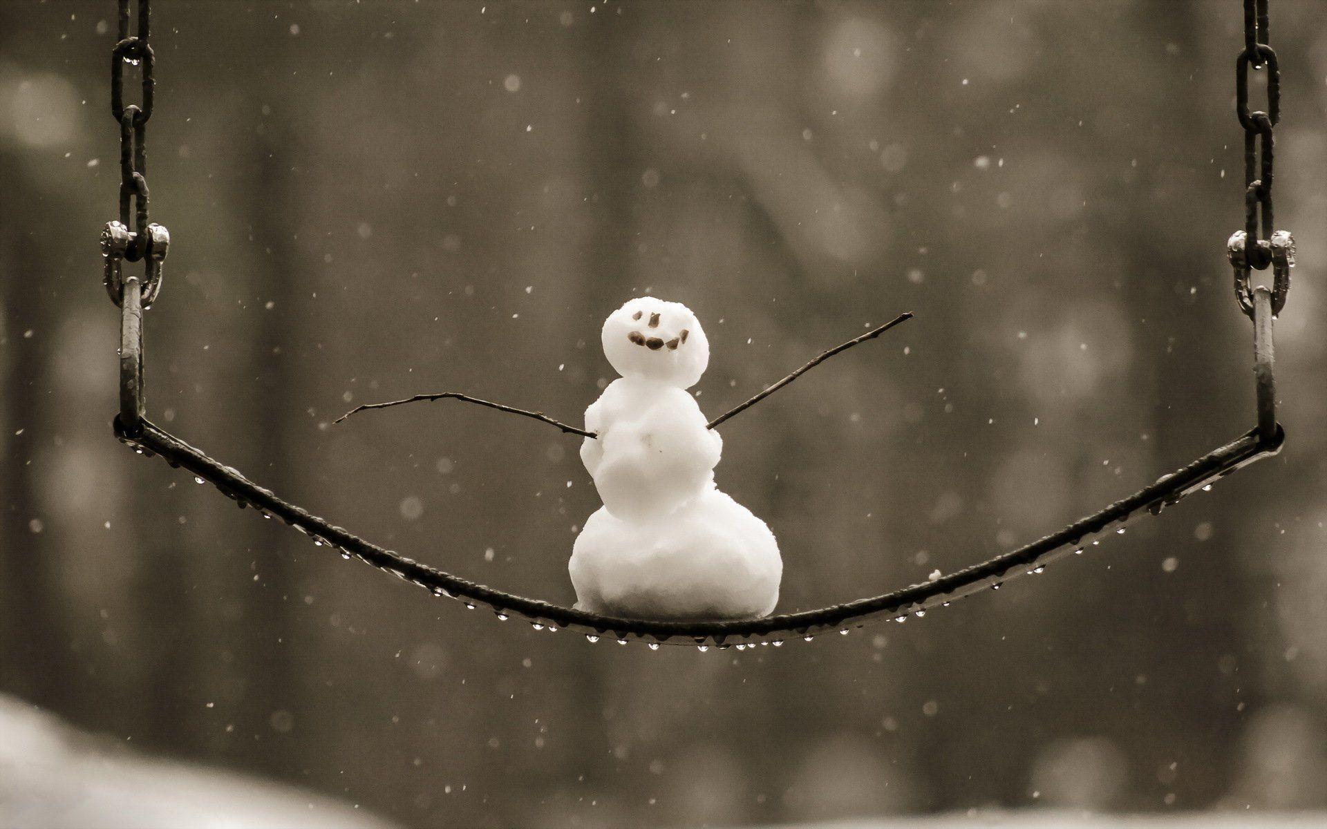 snowman swing winter HD wallpaper
