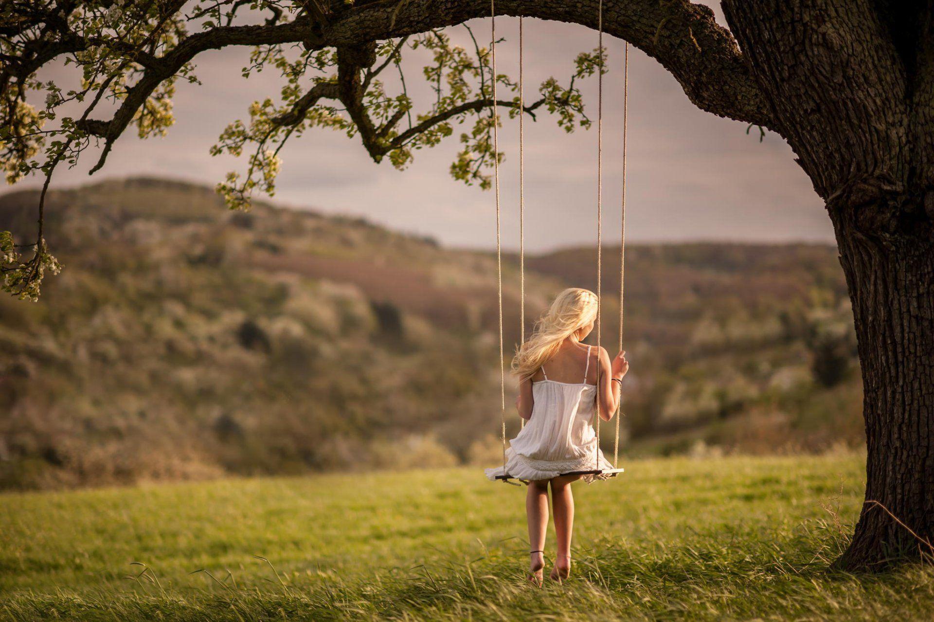 girl swing nature HD wallpaper