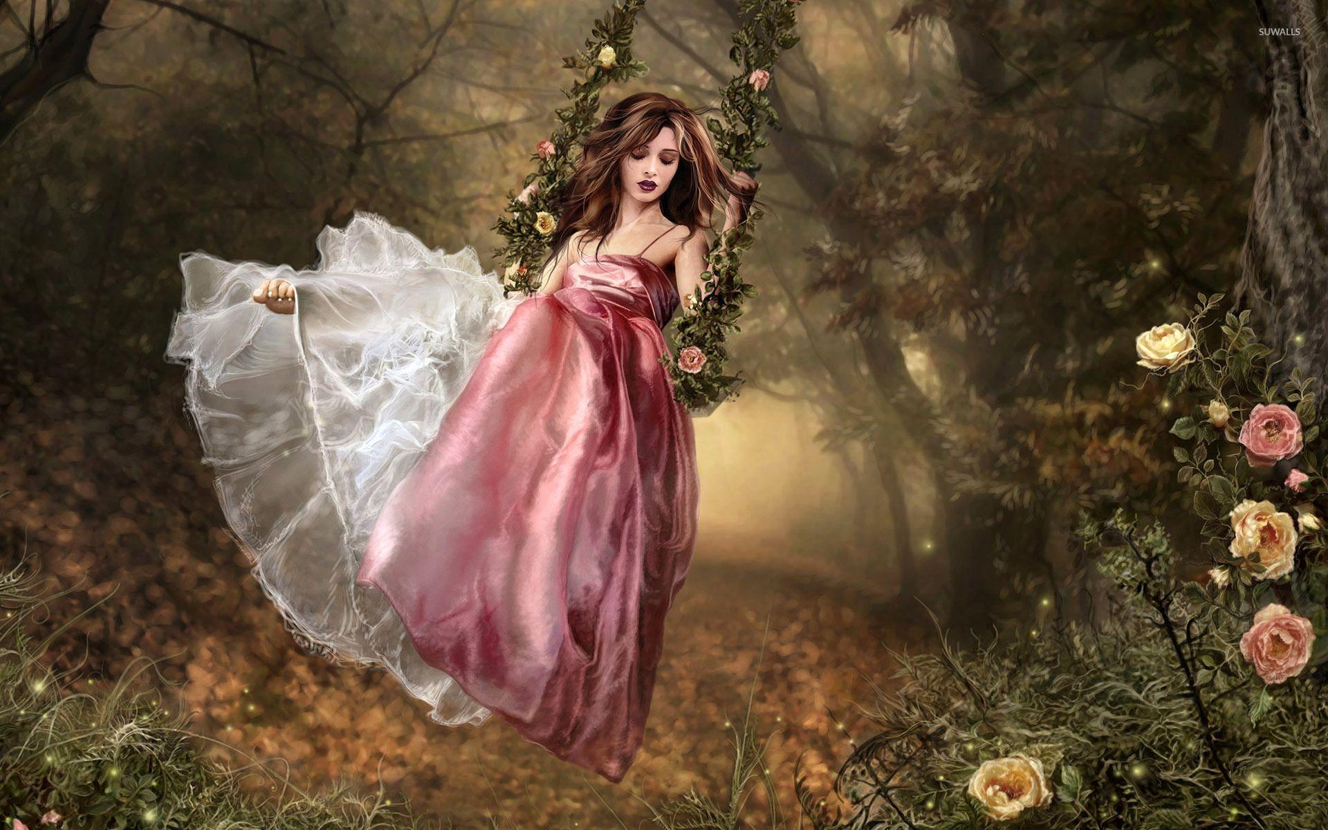 Girl on a swing wallpaper - Fantasy wallpapers - #4091