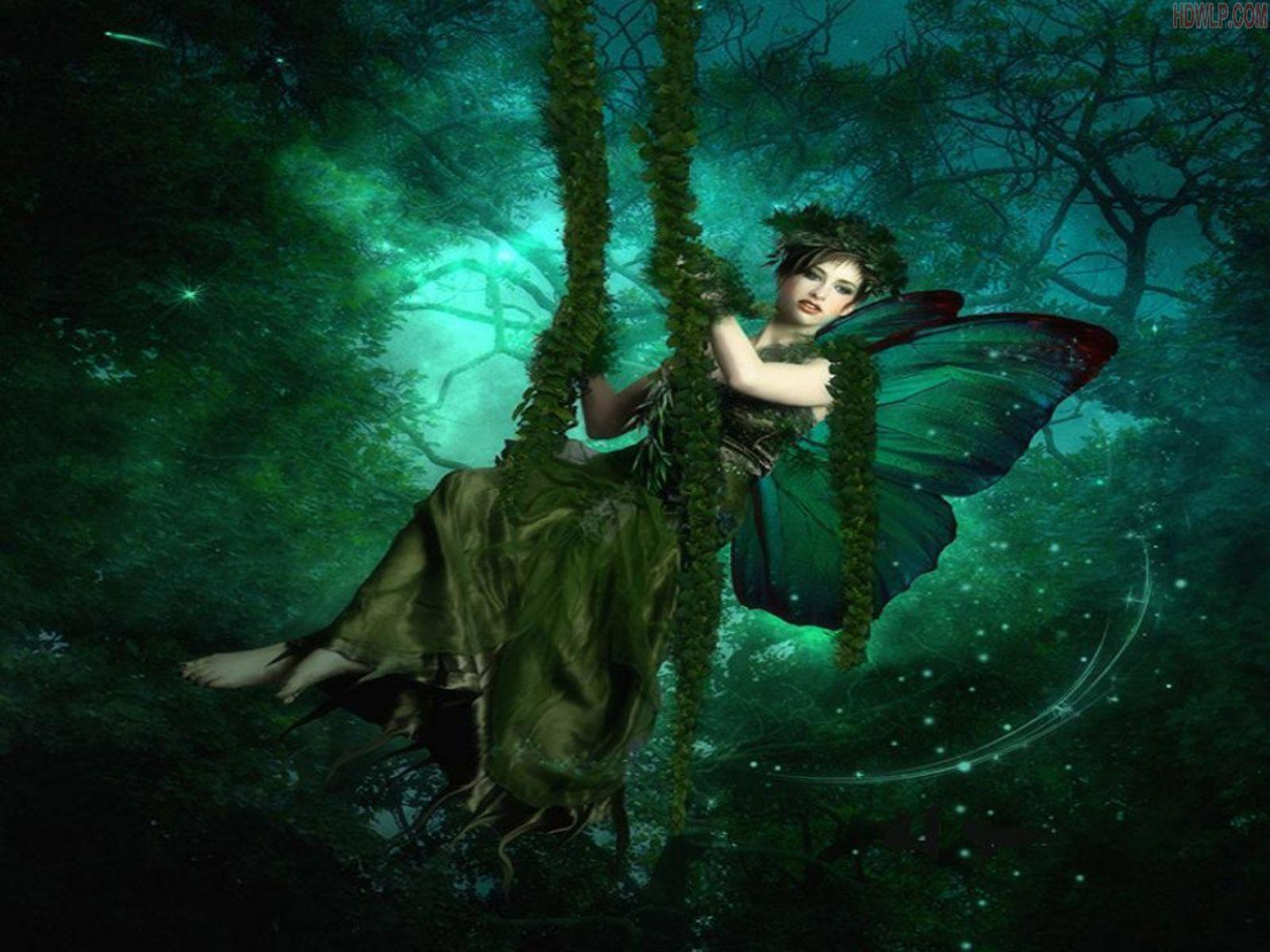 Green Dress Girl Swing HD Wallpaper | HDWLP.COM