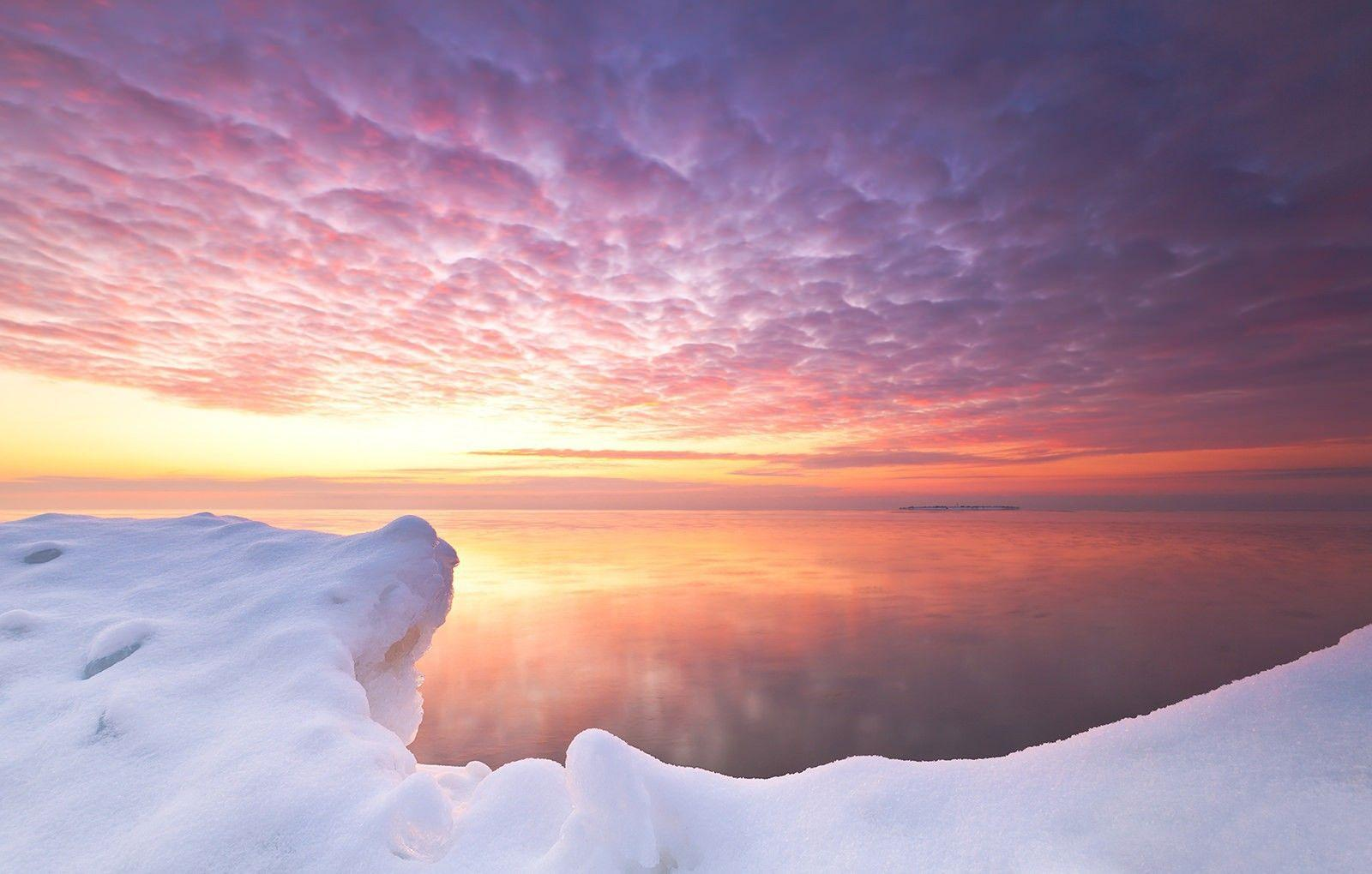 Pink sunset in Antarctica wallpapers and images - wallpapers ...