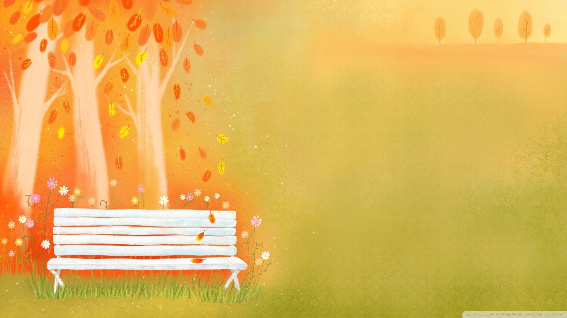 Empty Bench Autumn HD desktop wallpaper : Widescreen : High ...