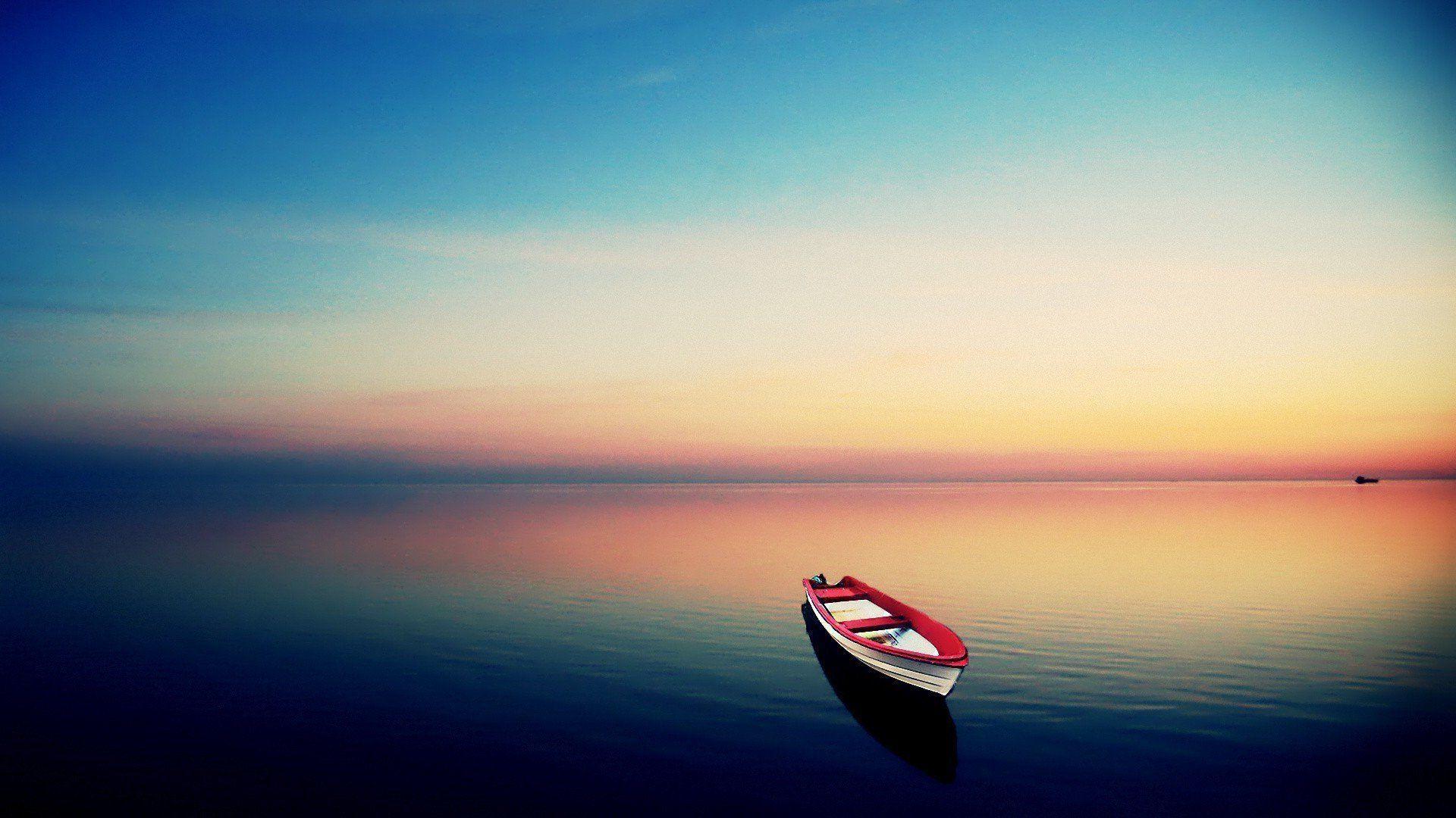 Empty Boat Under The Dusk Sky Wallpaper - WallDevil