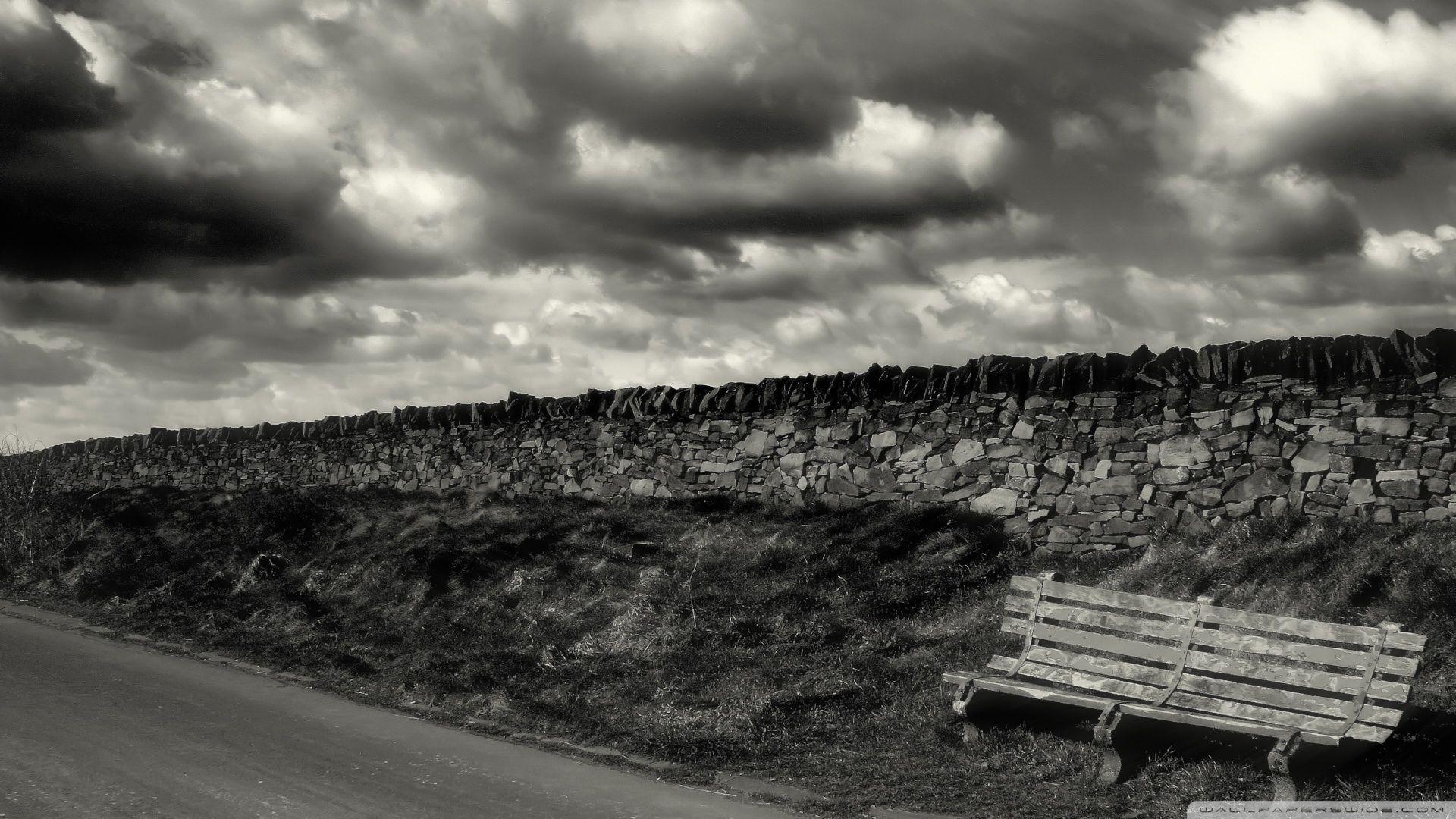 Empty Bench On Roadside HD desktop wallpaper : Widescreen : High ...