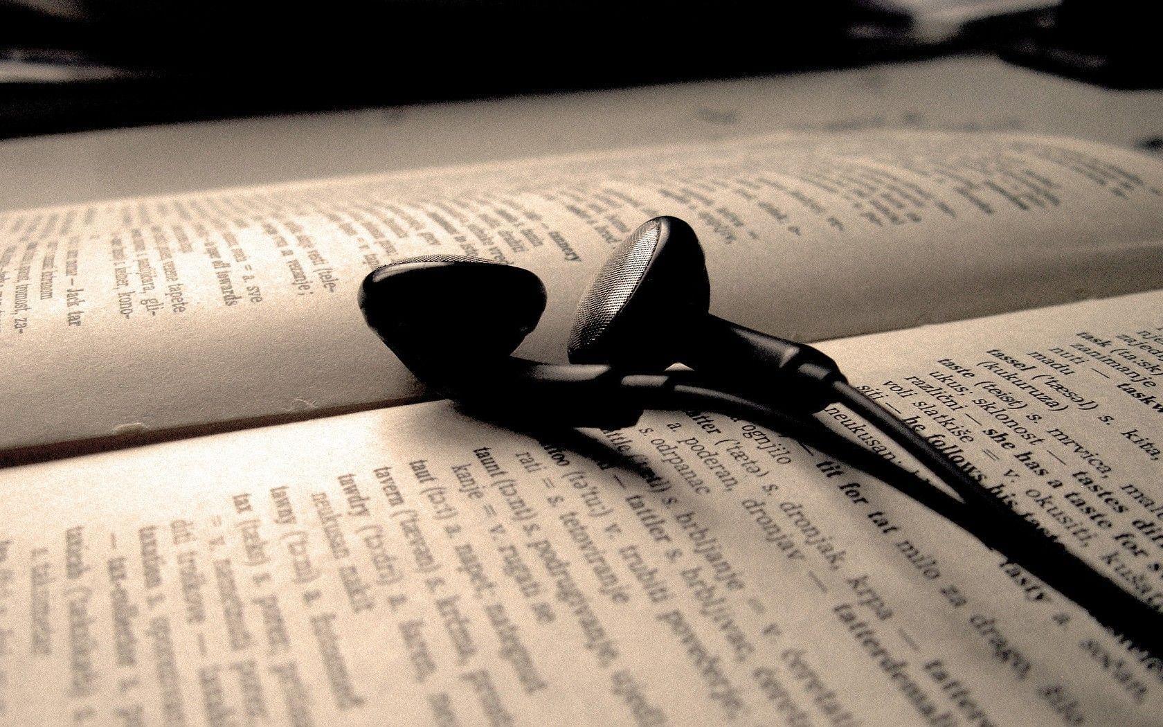 Aesthetic Book Earphones Photography