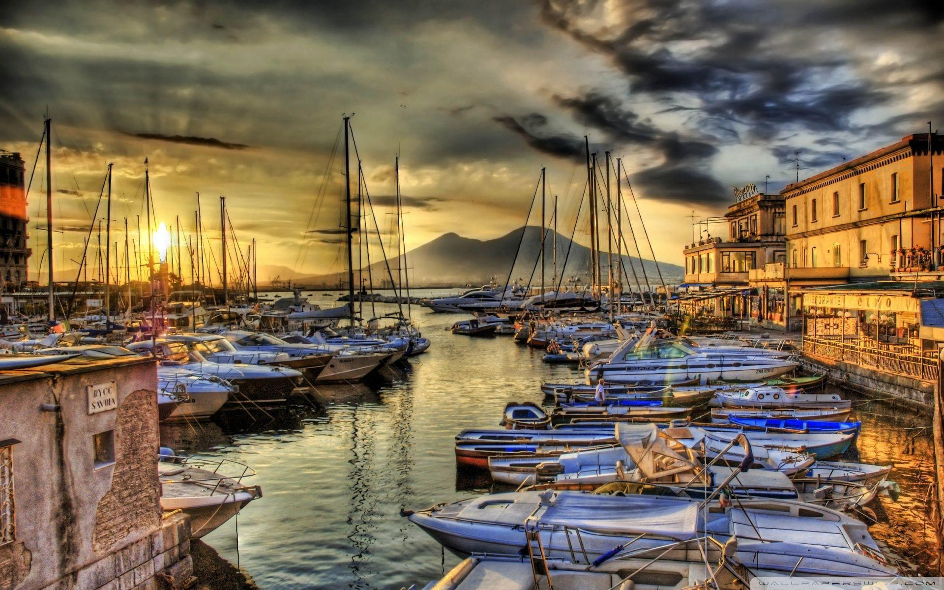 Sunrise In The Naples Docks HD desktop wallpapers : High Definition