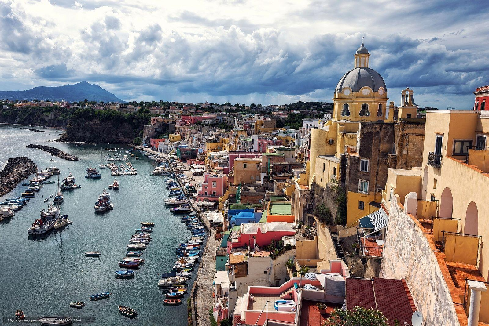 Download wallpapers Corricella, Procida Island, Italy, Gulf of