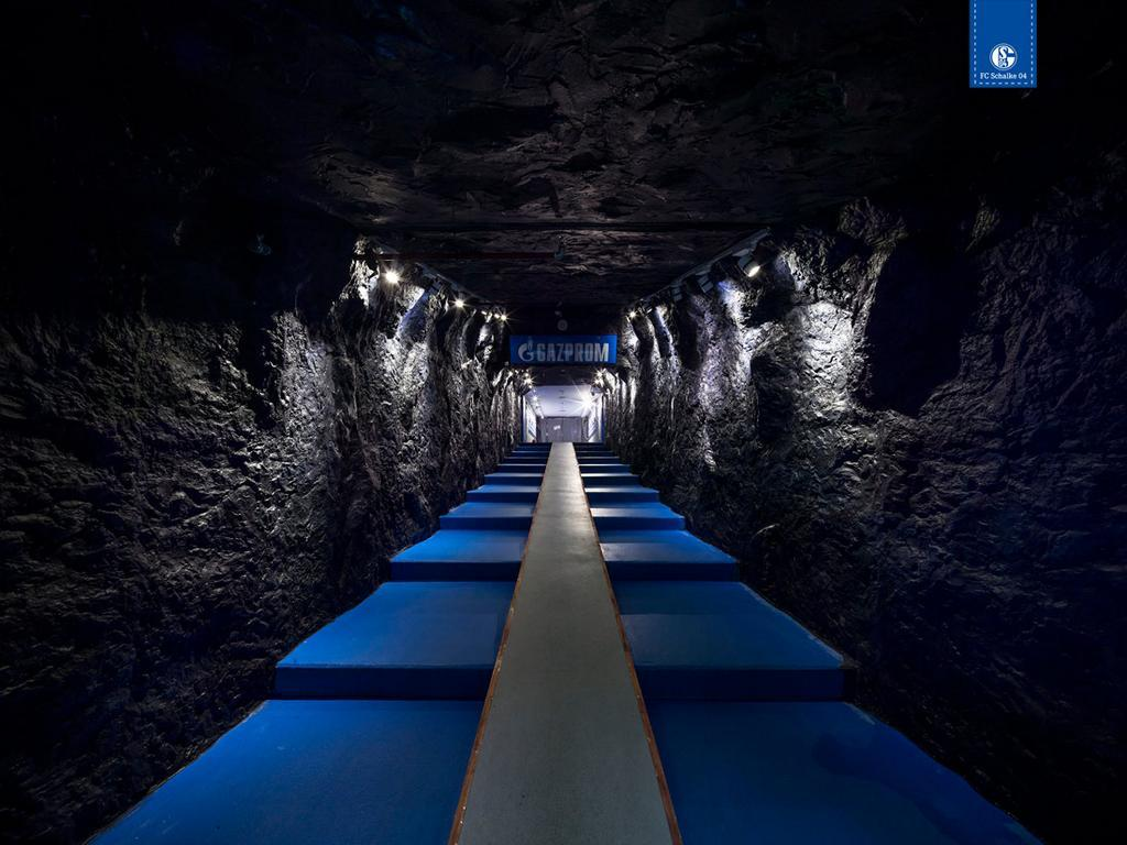 Schalke 04's new tunnel, a very cool nod to their mining past : soccer