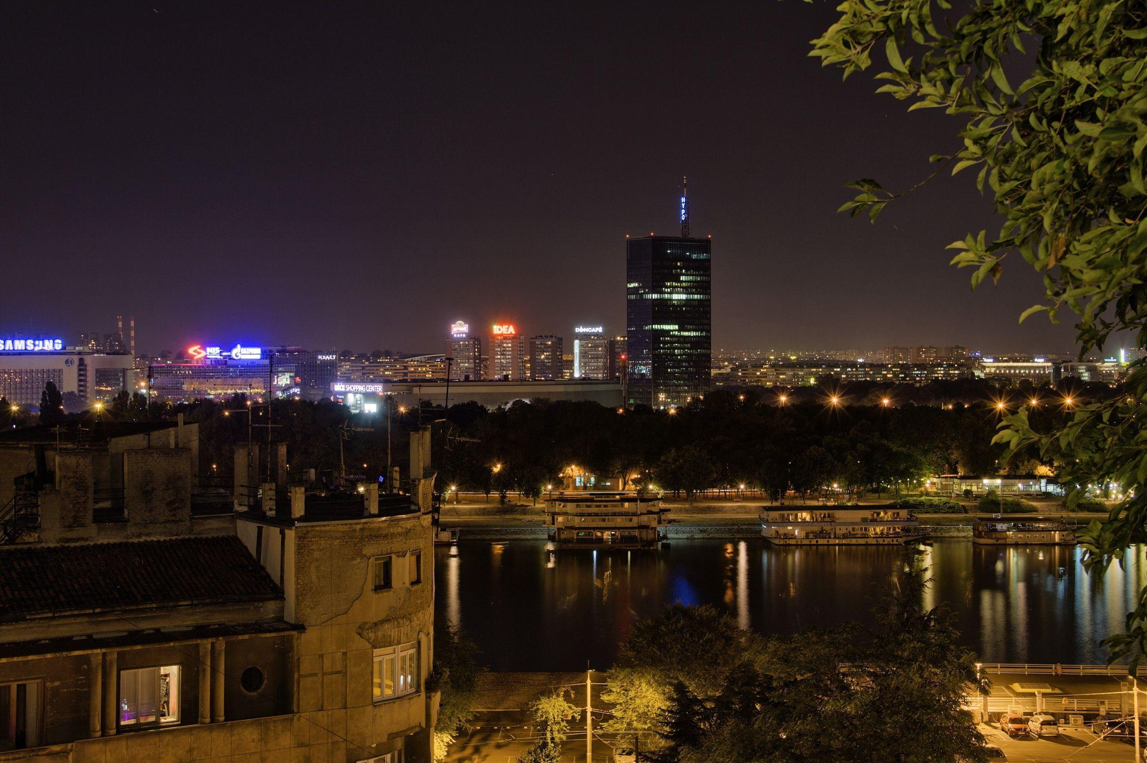 Photo Serbia Belgrade Canal night time Cities 2284x1520