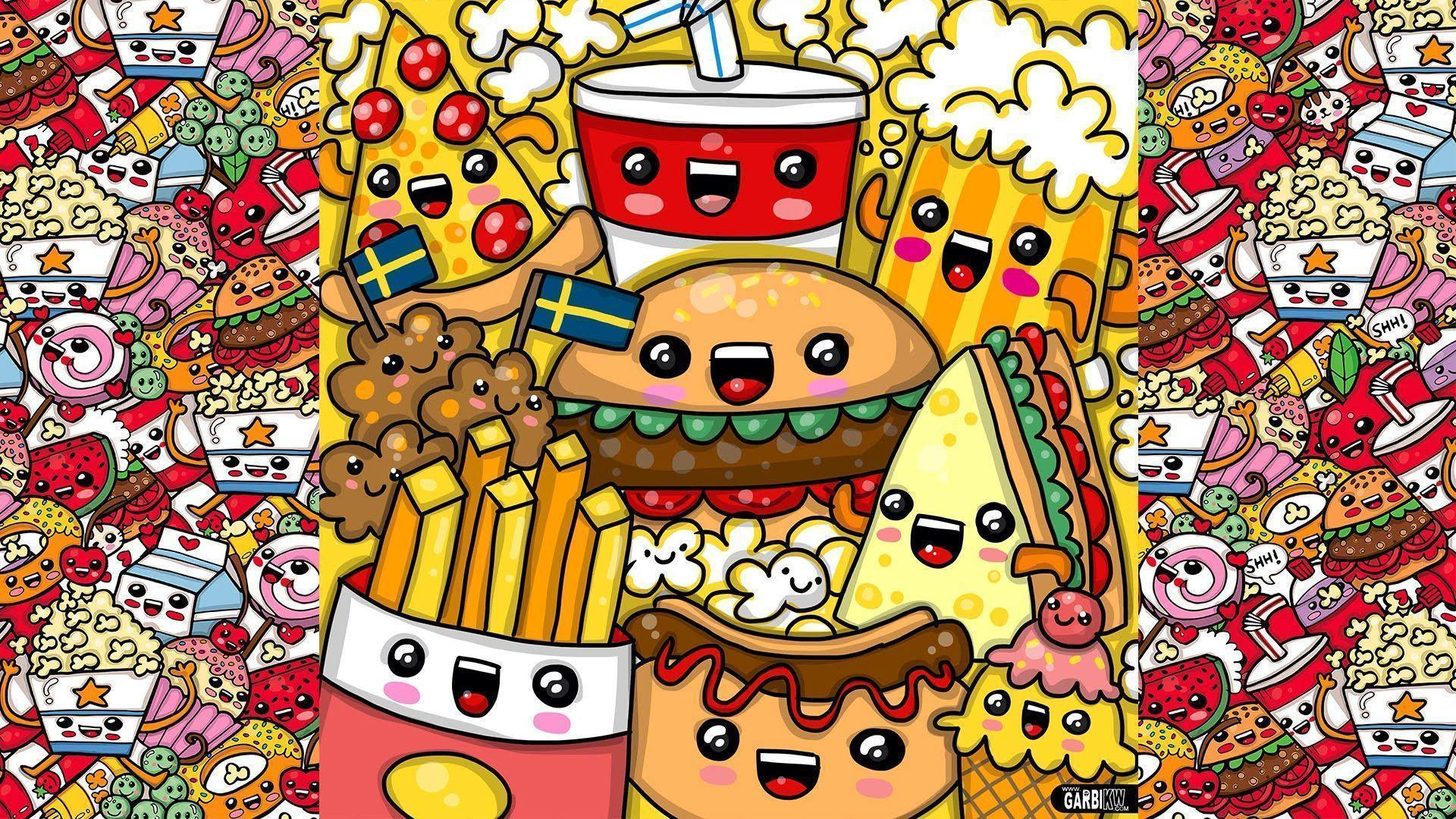 kawaii food cute wallpapers fast cartoon drawings party backgrounds drawing draw wallpaperaccess quality doodle amazing kw garbi resolution pretty getdrawings