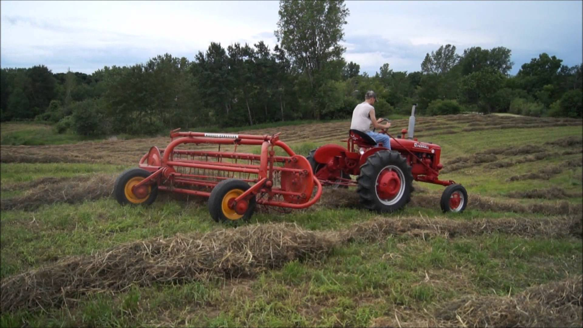 Hay Baling and Raking with Farmall Tractors - YouTube